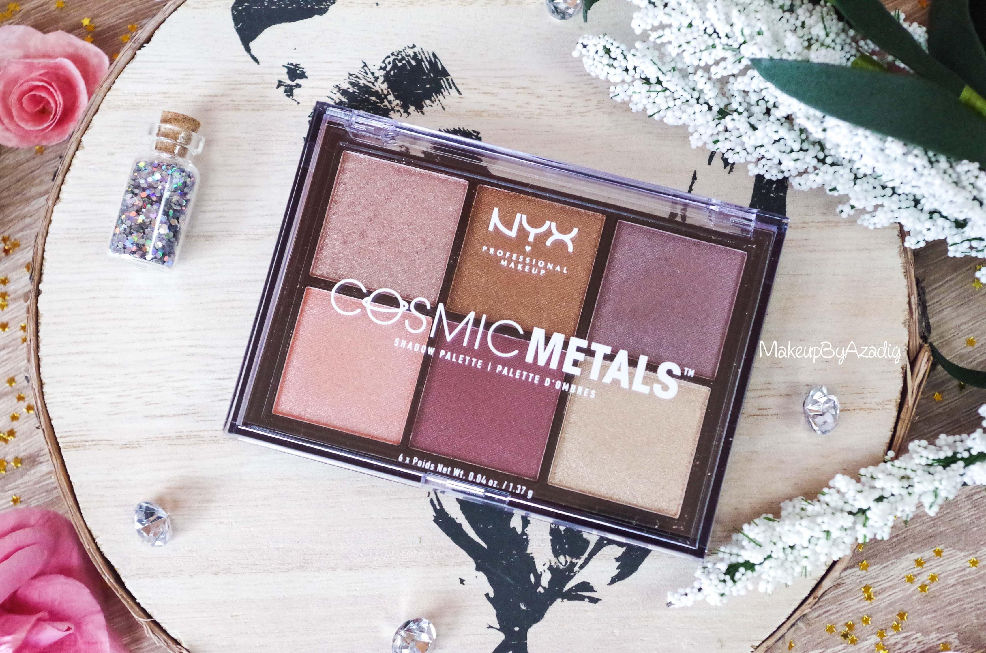 -revue-palette-fards-paupieres-cosmic-metals-nyx-cosmetics-pas-cher-meilleure-makeupbyazadig-influencer-automne