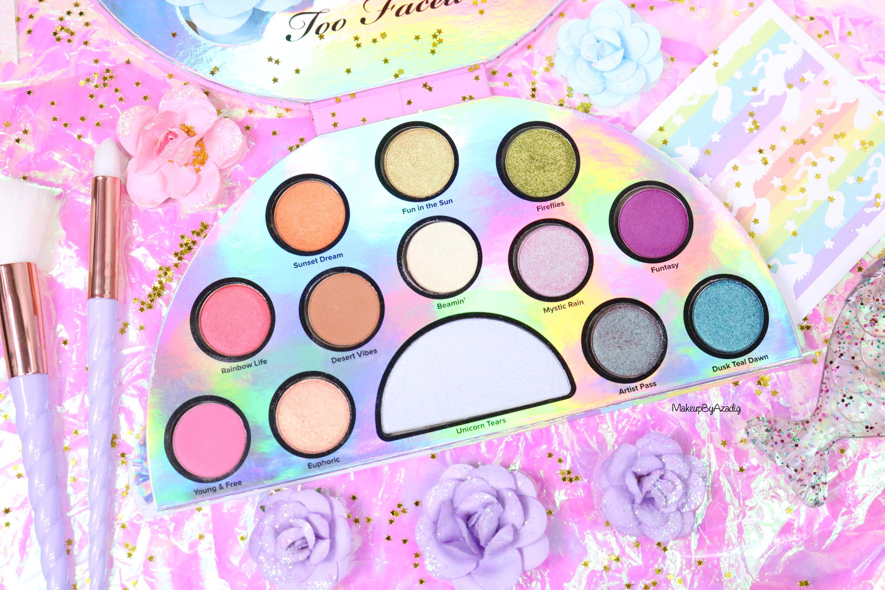 revue-palette-lifes-a-festival-too-faced-france-sephora-avis-prix-revue-makeupbyazadig-collection-licorne-couleurs