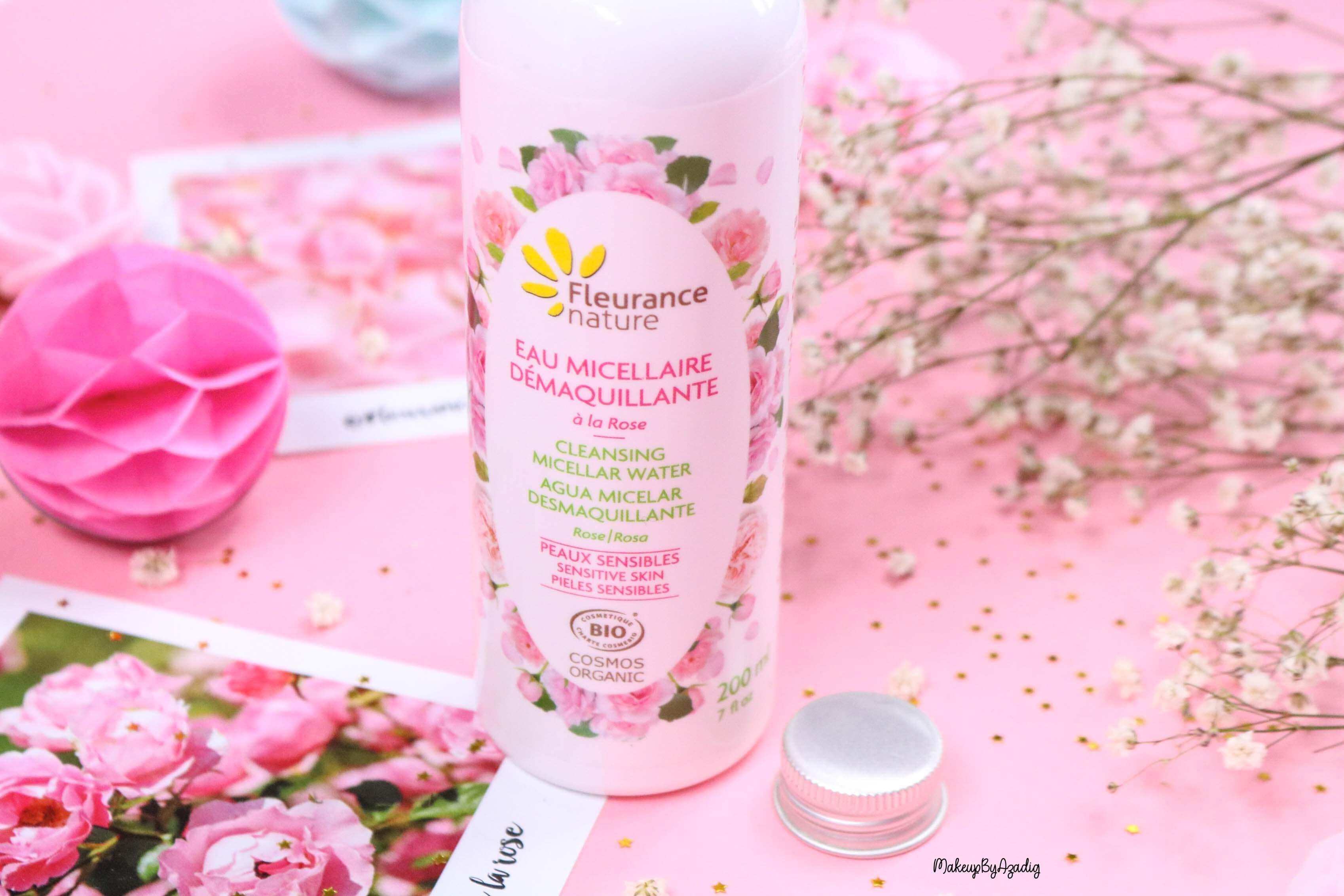 revue-eau-micellaire-demaquillante-eau-florale-rose-fleurance-nature-demaquillage-parfait-peau-acneique-makeupbyazadig-avis-prix-promo-organic