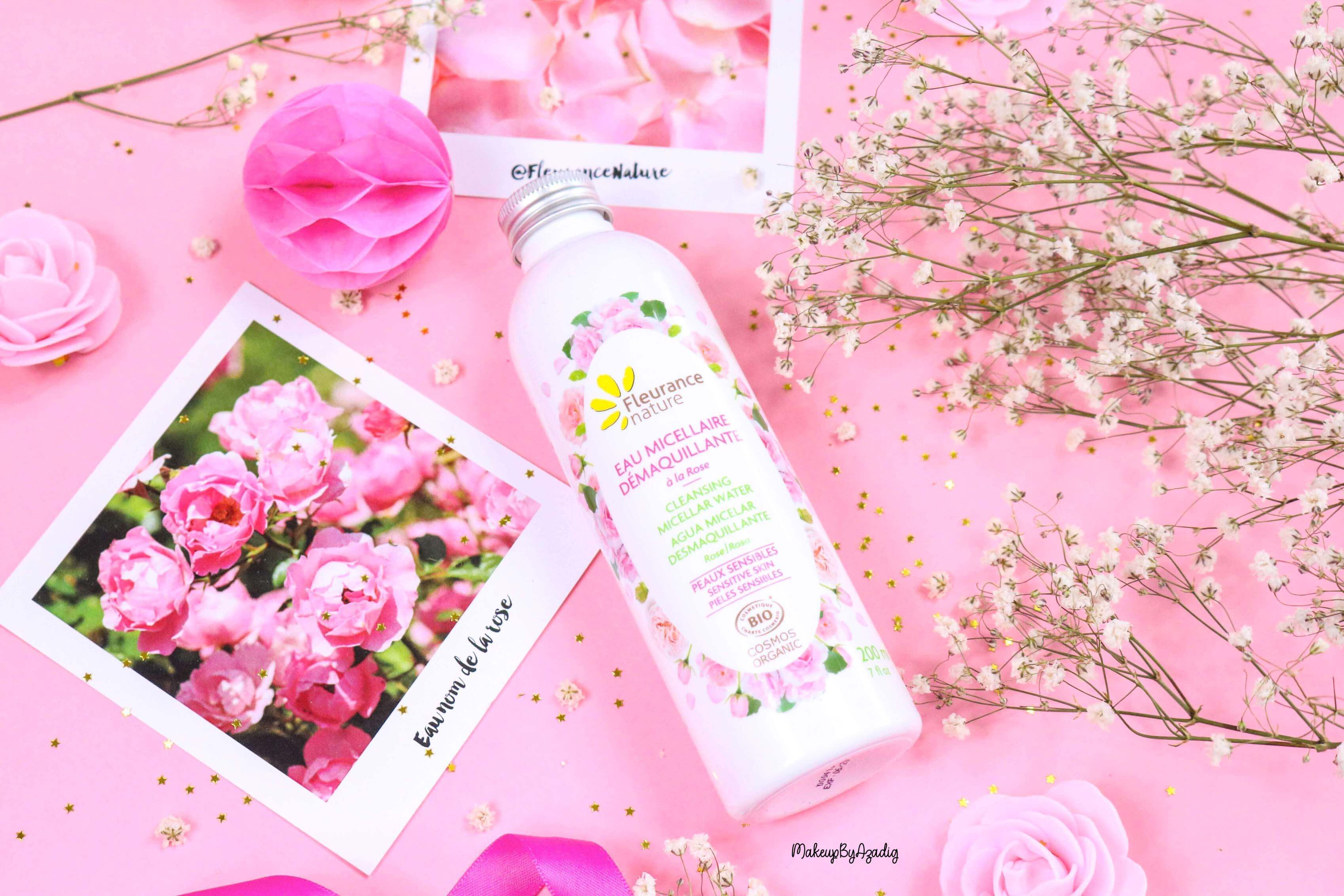 revue-eau-micellaire-demaquillante-eau-florale-rose-fleurance-nature-demaquillage-parfait-peau-acneique-makeupbyazadig-avis-prix-promo-roses