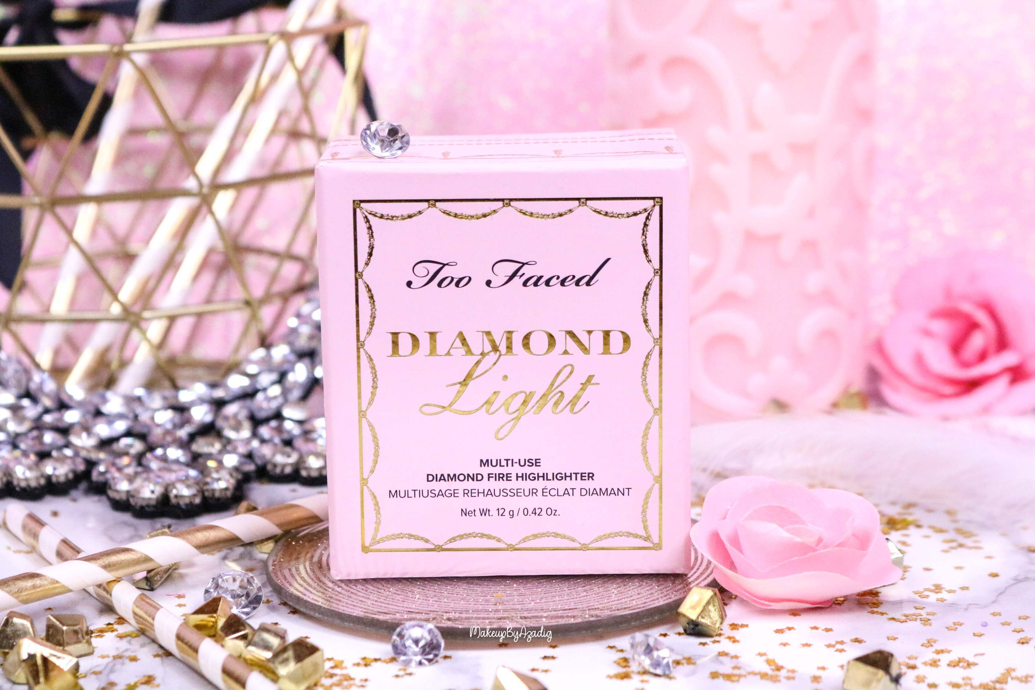 revue-highlighter-diamond-light-toofaced-enlumineur-diamant-collection-makeup-makeupbyazadig-sortie-france-influencer-swatch-avis-prix-eclat