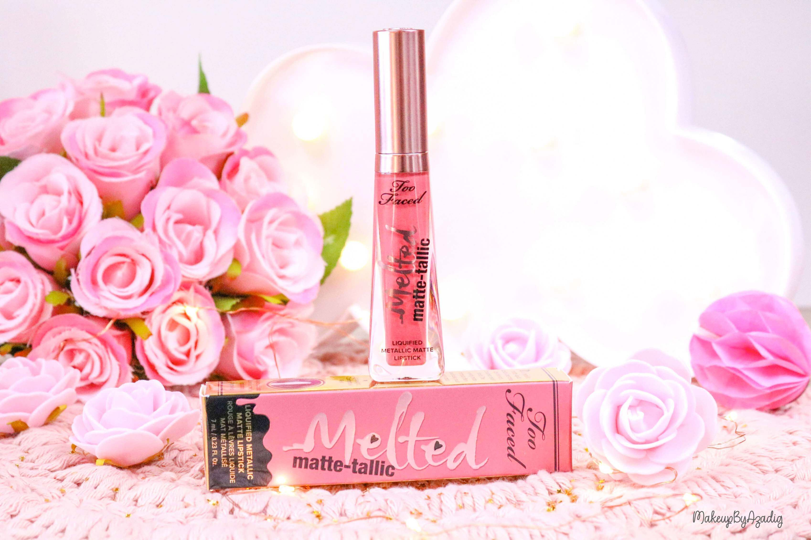 revue-melted-matte-tallic-toofaced-rouge-a-levres-breakup-makeup-makeupbyazadig-sortie-france-influencer-swatch-avis-prix-rose
