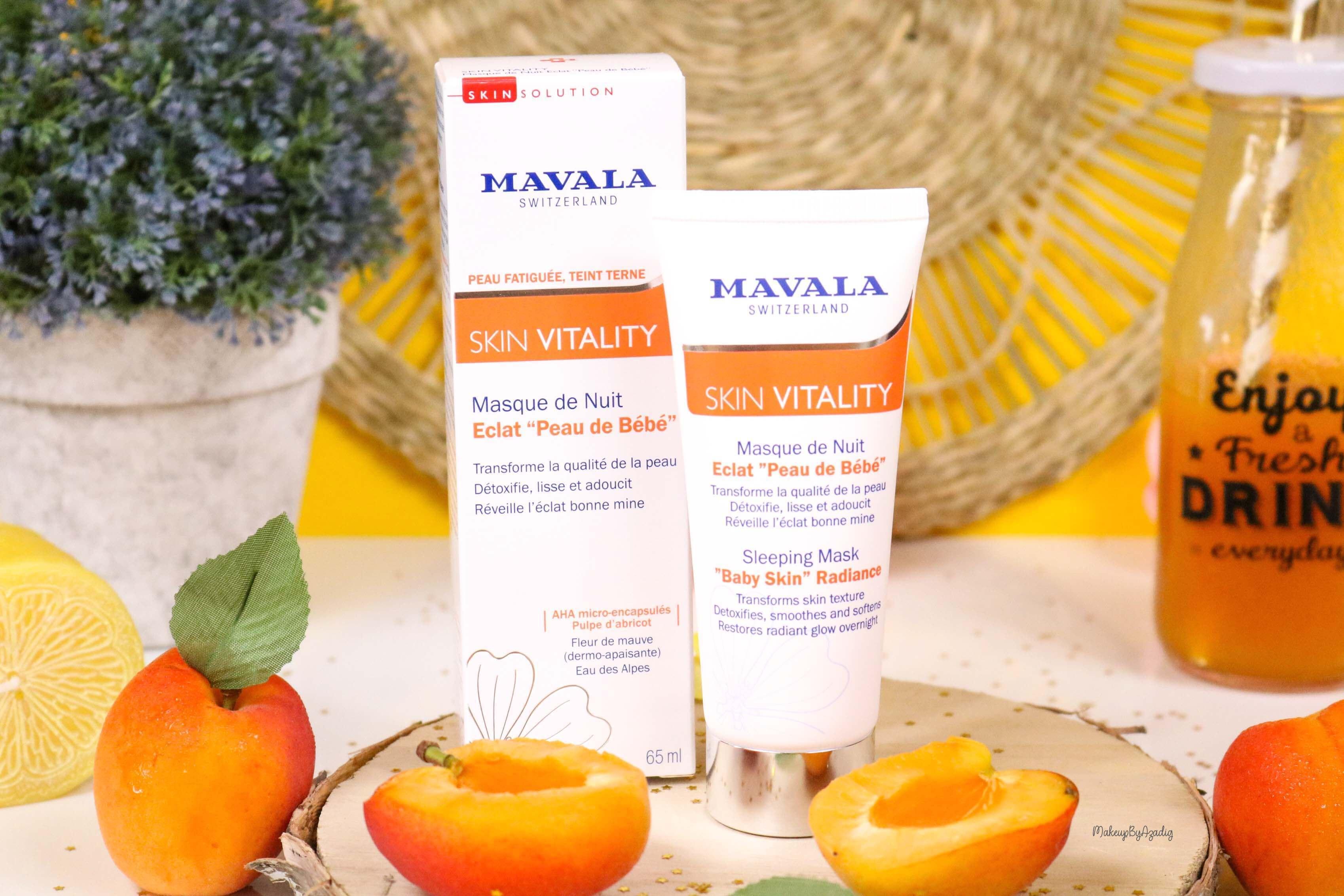 revue-routine-soin-bio-efficace-peau-sensible-skin-vitality-mavala-suisse-masque-nuit-serum-creme-jour-makeupbyazadig-bebe