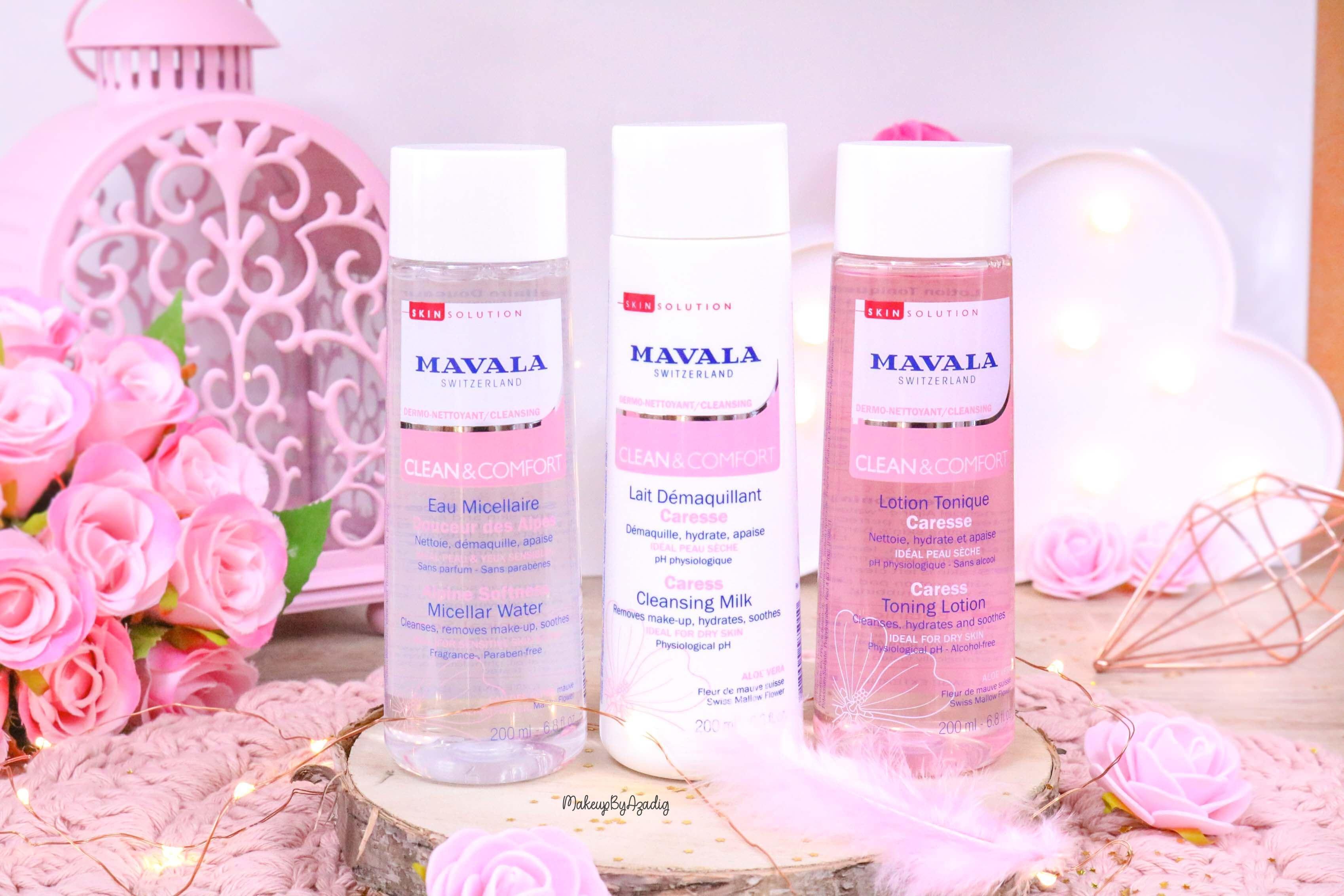 revue-routine-demaquillage-soin-confort-mavala-suisse-clean-lotion-tonique-lait-eau-micellaire-makeupbyazadig-peau-nettoyee