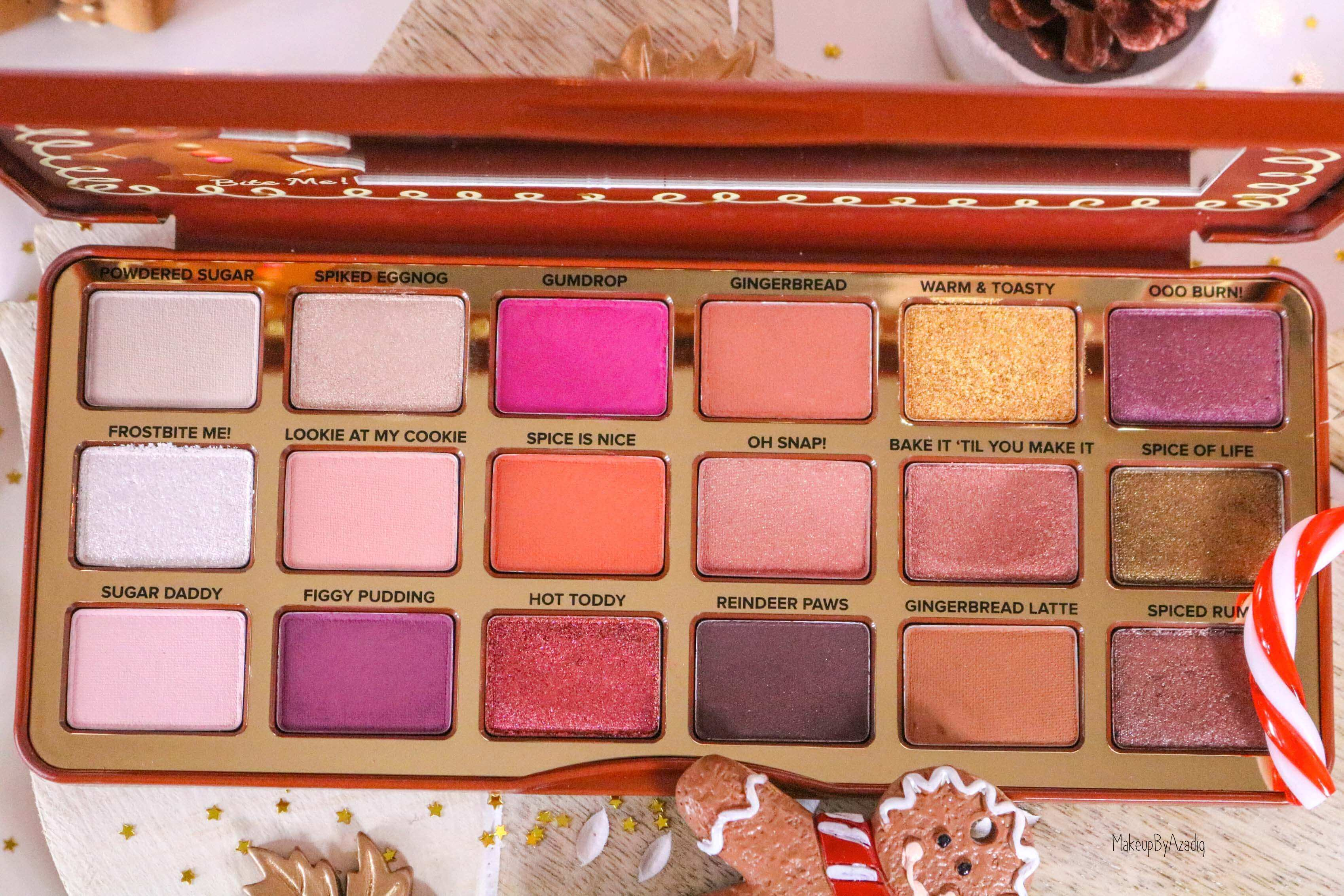 revue-palette-too-faced-gingerbread-spice-noel-france-makeupbyazadig-avis-prix-swatch-cute-couleurs