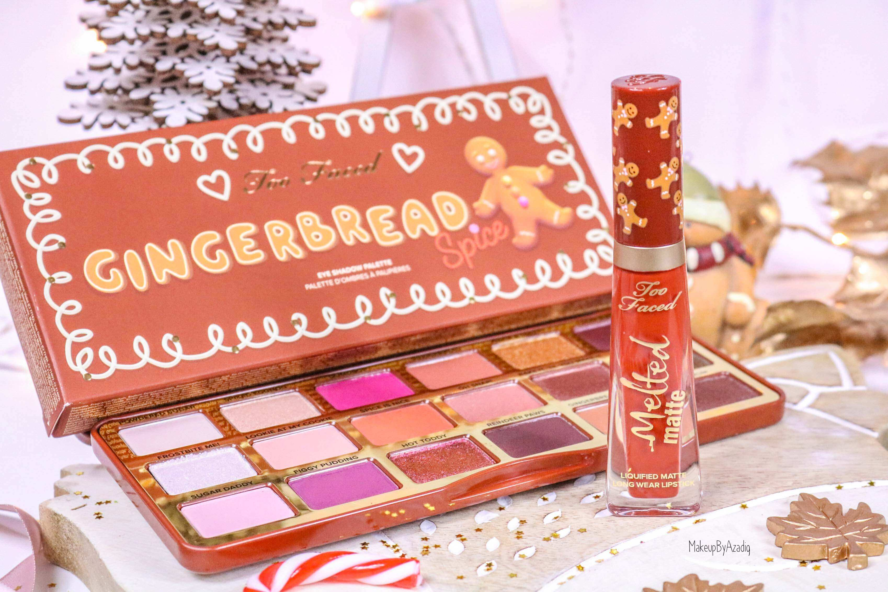 revue-palette-too-faced-gingerbread-spice-noel-france-makeupbyazadig-avis-prix-swatch-cute-melted