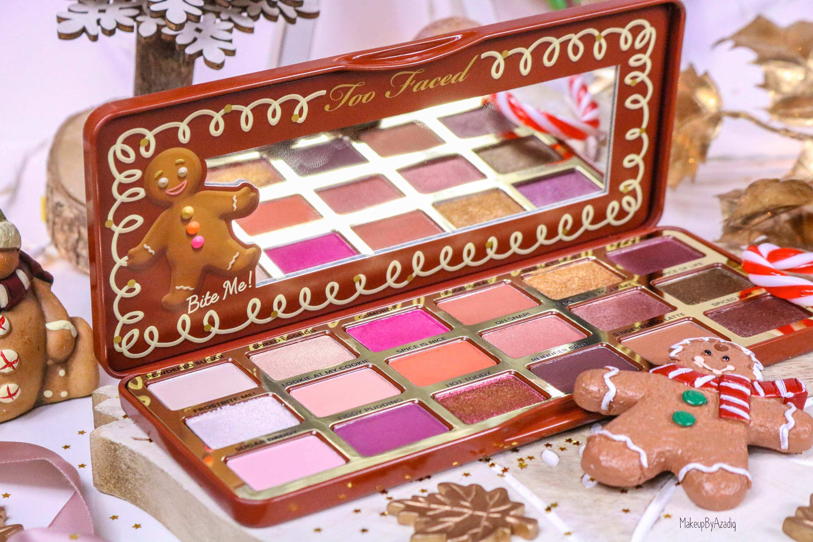 revue-palette-too-faced-gingerbread-spice-noel-france-makeupbyazadig-avis-prix-swatch-cute-review