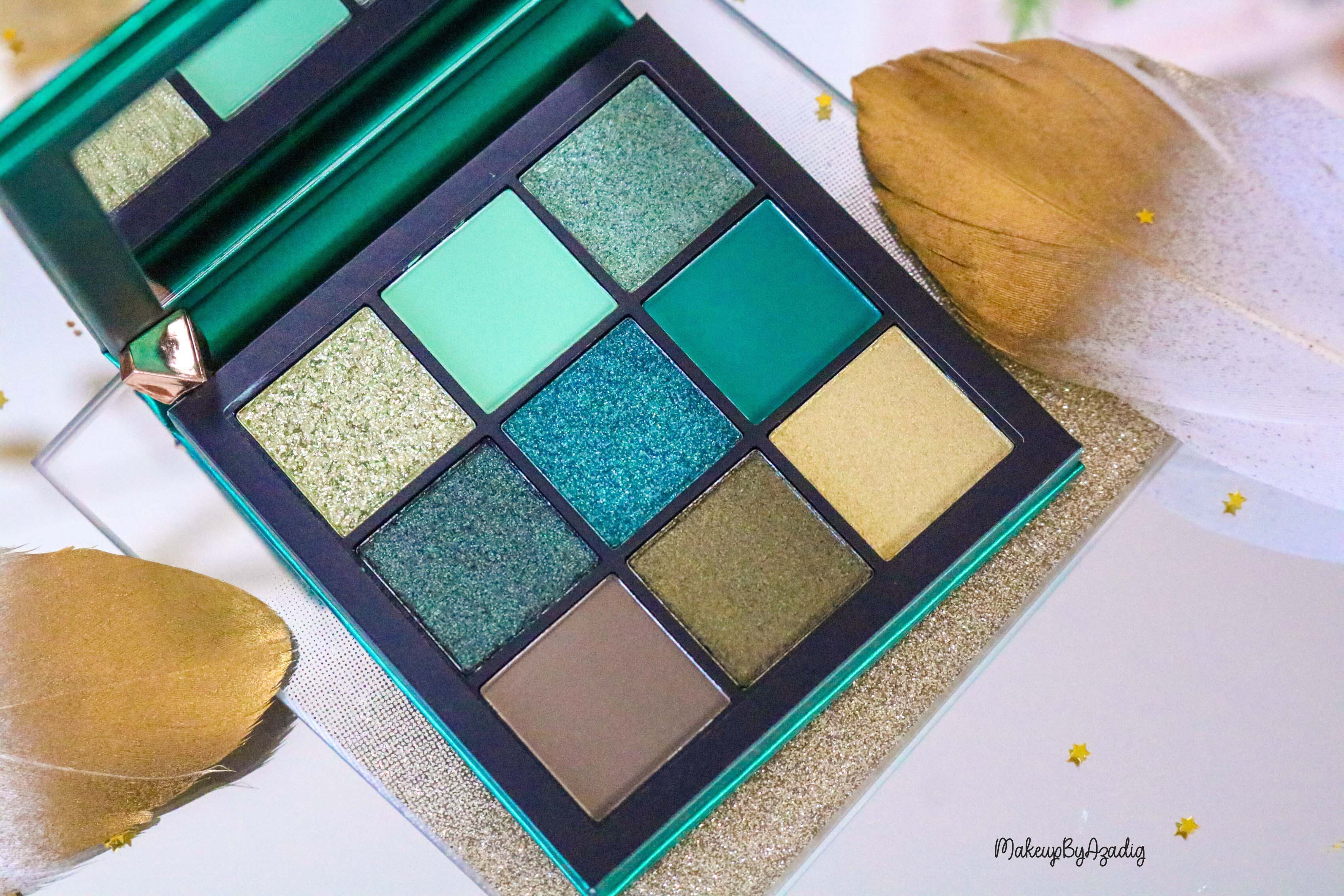 revue-review-palette-emerald-obsessions-huda-beauty-topaz-sapphire-avis-prix-swatch-makeupbyazadig-meilleure-dubai
