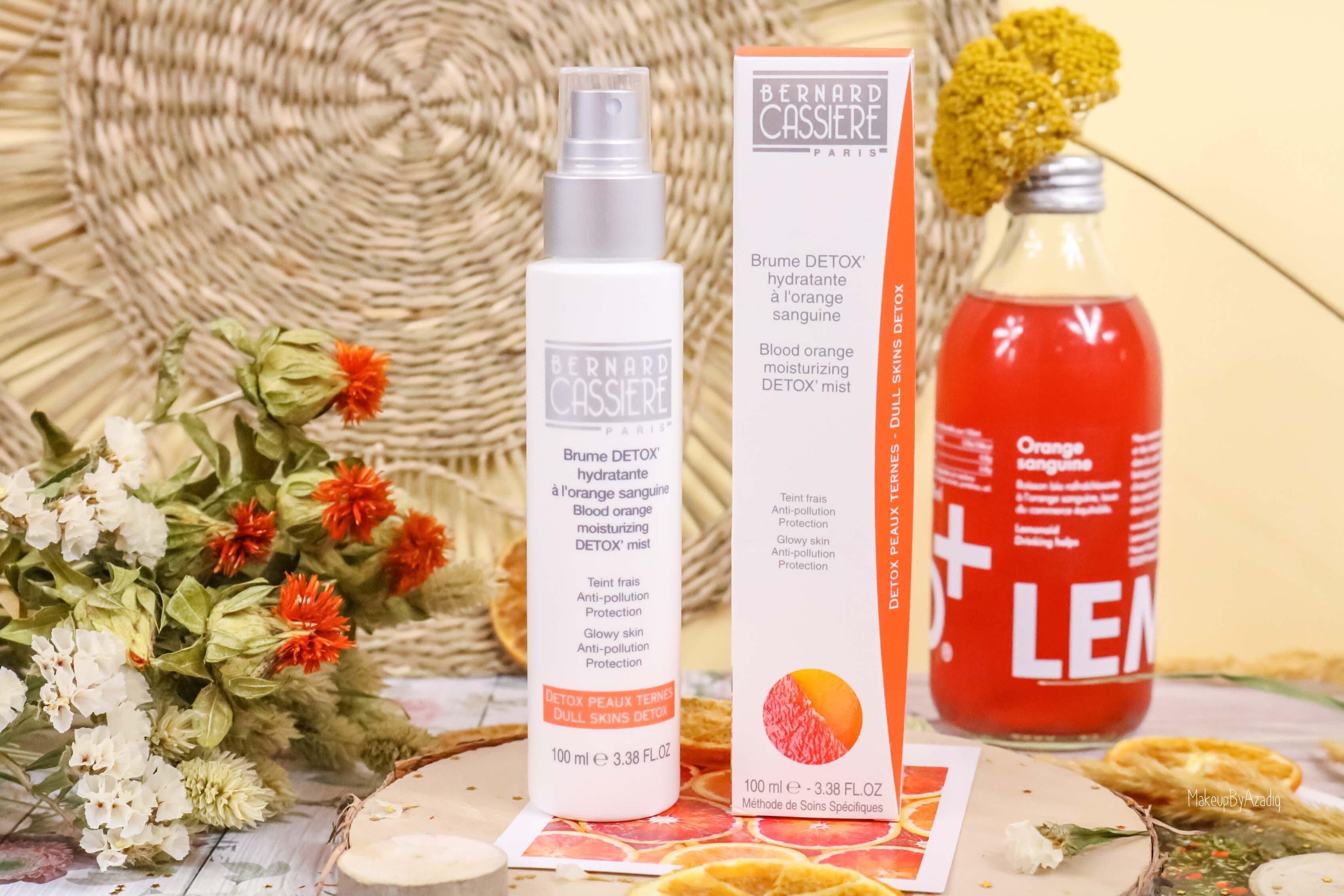 revue-produits-bernard-cassiere-bio-detox-orange-sanguine-masque-paris-institut-concentre-nuit-avis-prix-soin-makeupbyazadig-brume