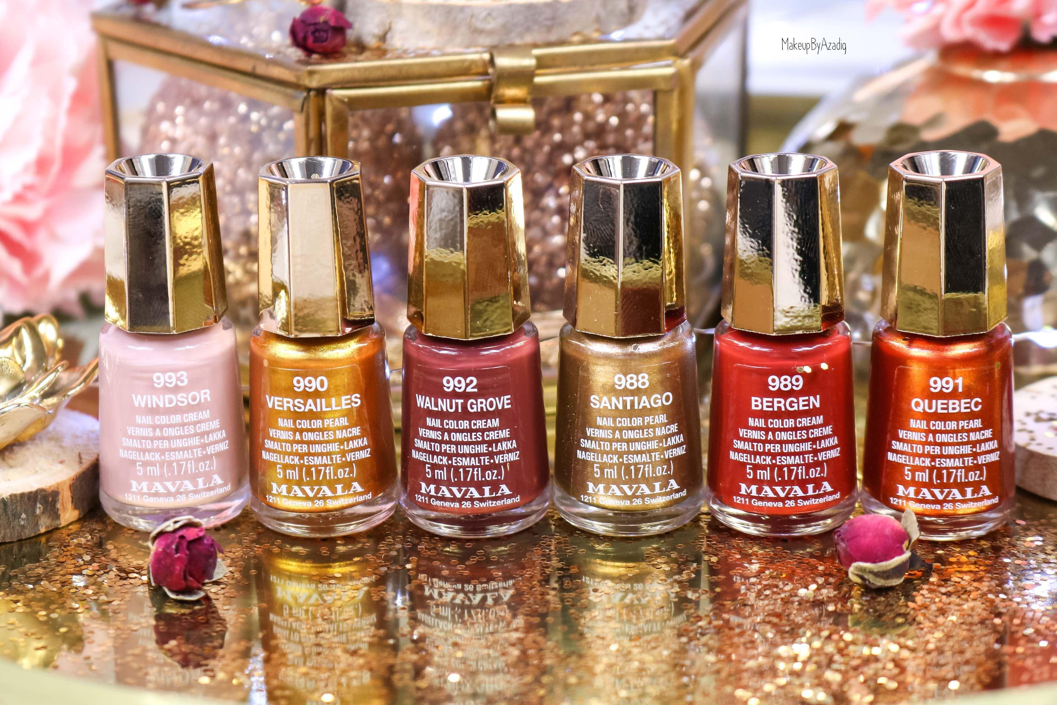 revue-collection-vernis-mavala-nails-heritage-chic-bordeaux-cuivre-metallique-gold-rouge-makeupbyazadig-swatch-avis-prix-monoprix