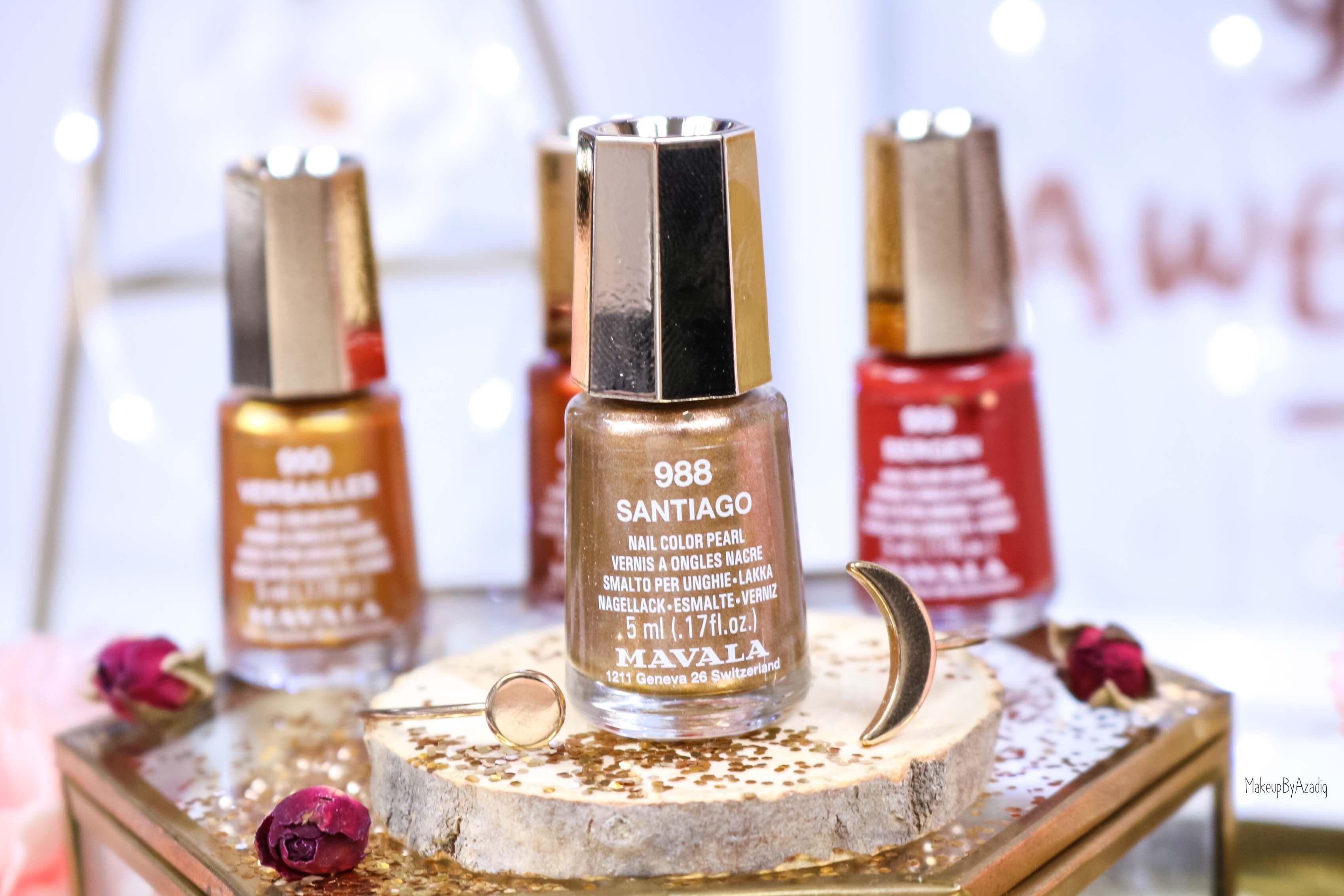 revue-collection-vernis-mavala-nails-heritage-chic-bordeaux-cuivre-metallique-gold-rouge-makeupbyazadig-swatch-avis-prix-santiago