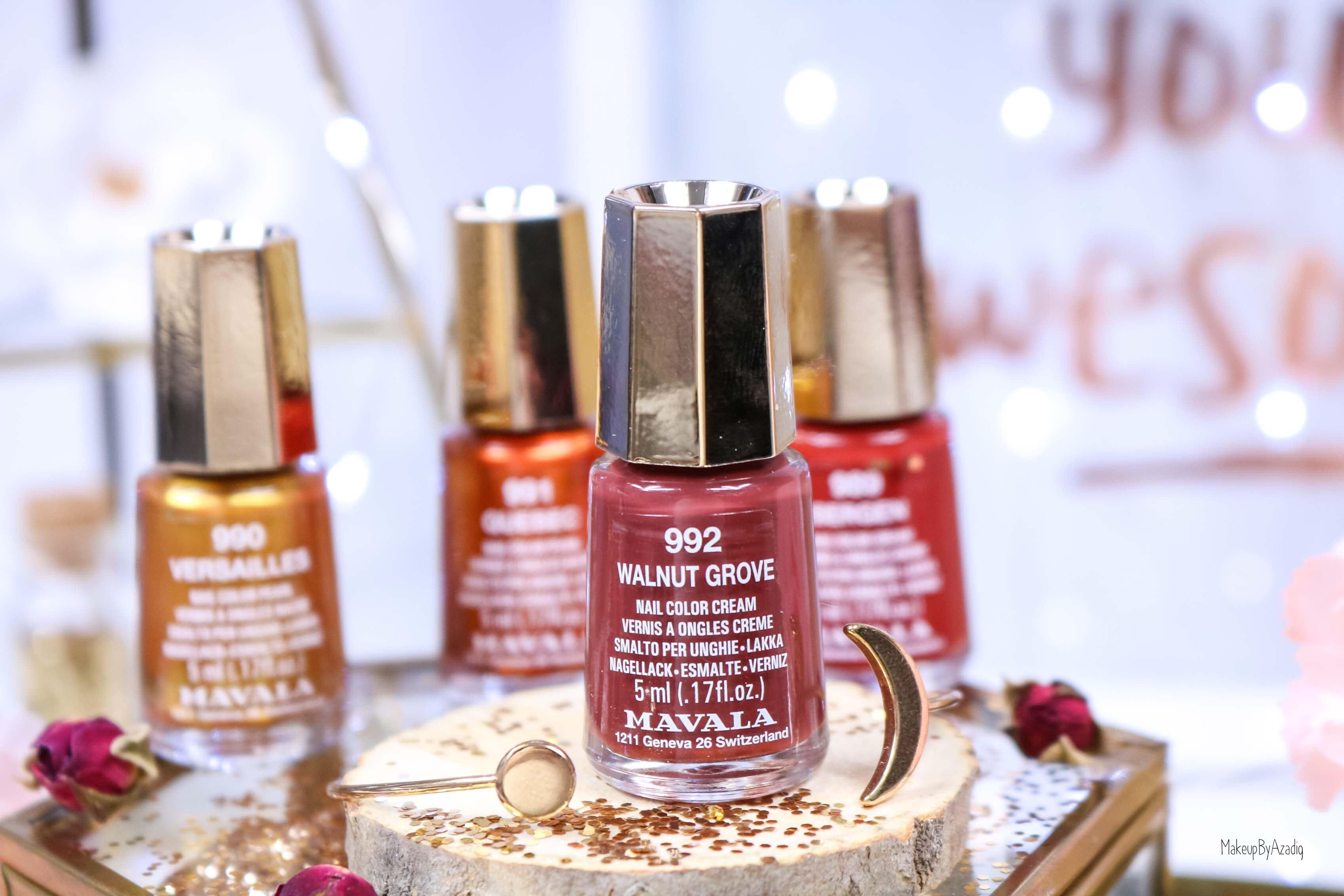 revue-collection-vernis-mavala-nails-heritage-chic-bordeaux-cuivre-metallique-gold-rouge-makeupbyazadig-swatch-avis-prix-walnut-grove