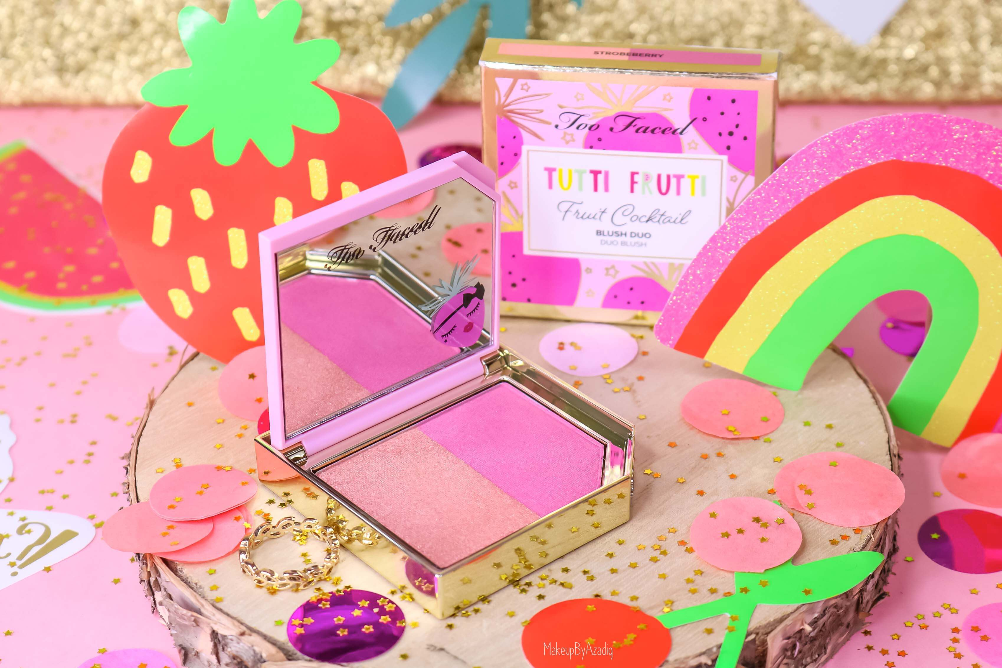 revue-collection-tutti-frutti-too-faced-blush-fruit-cocktail-strobeberry-sephora-france-makeupbyazadig-swatch-avis-prix-rose-miniature
