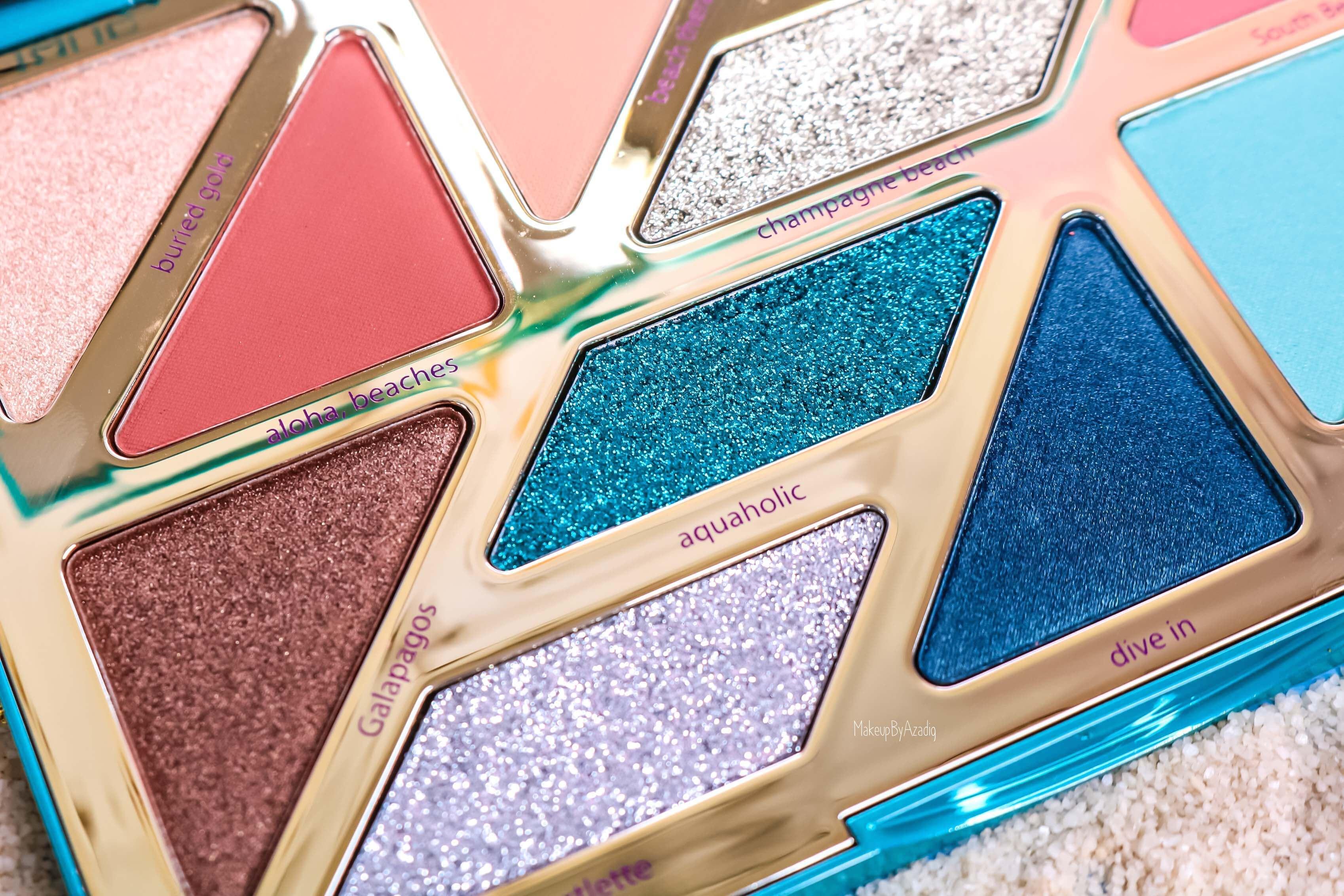revue-palette-tarte-cosmetics-france-sephora-makeupbyazadig-swatch-prix-avis-rainforest-of-the-sea-pailettes