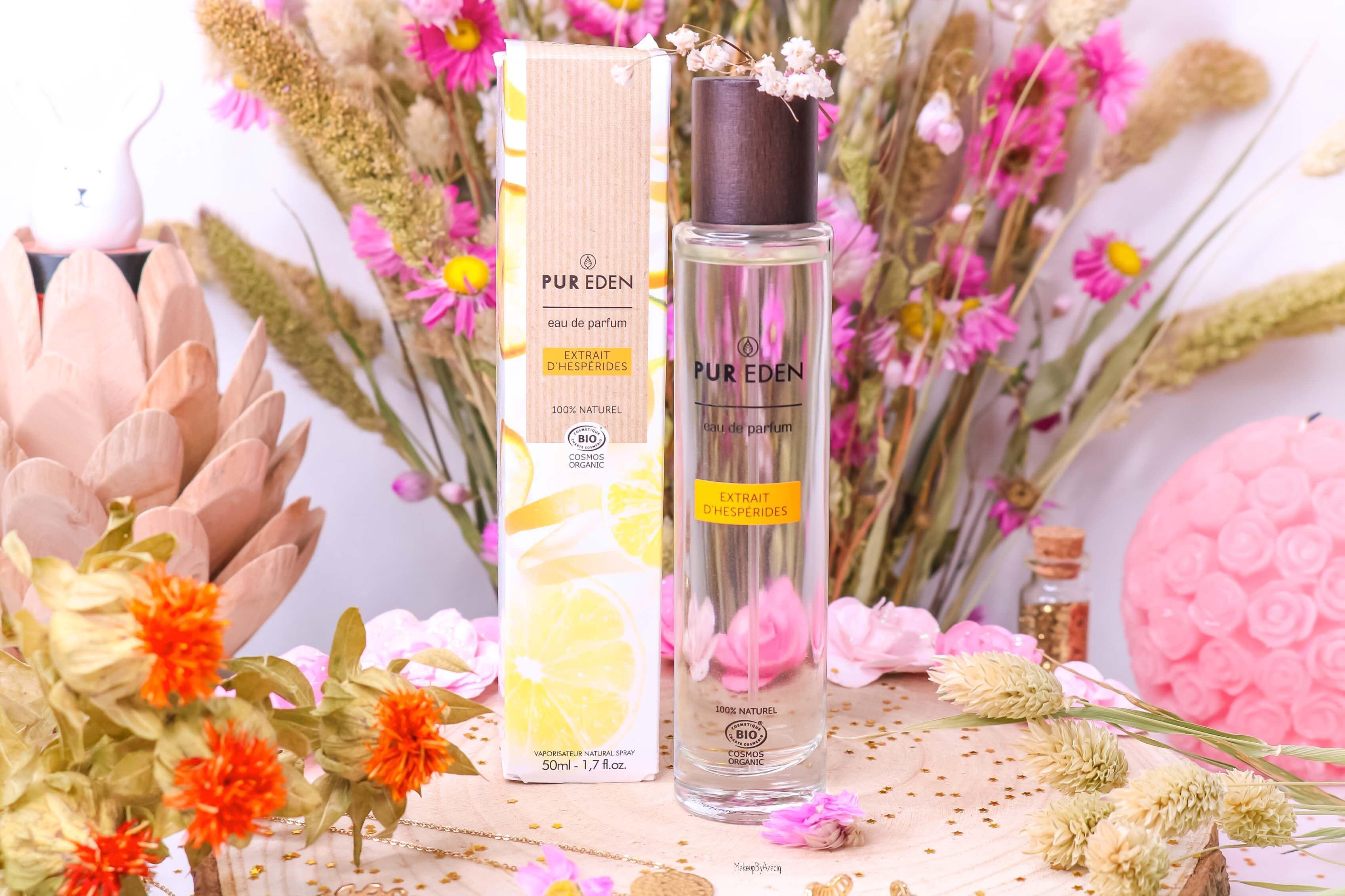 revue-eau-de-parfum-bio-vegan-pur-eden-fleur-boreale-extraits-hesperides-eau-dorient-makeupbyazadig-avis-prix-tenue-agrumes