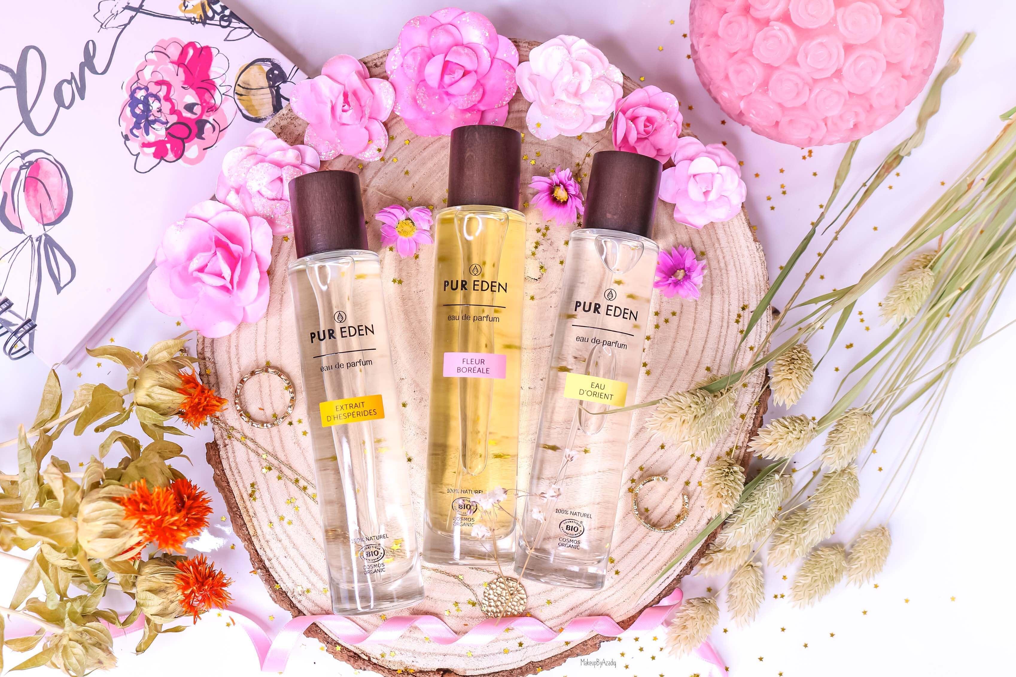 revue-eau-de-parfum-bio-vegan-pur-eden-fleur-boreale-extraits-hesperides-eau-dorient-makeupbyazadig-avis-prix-tenue-miniature