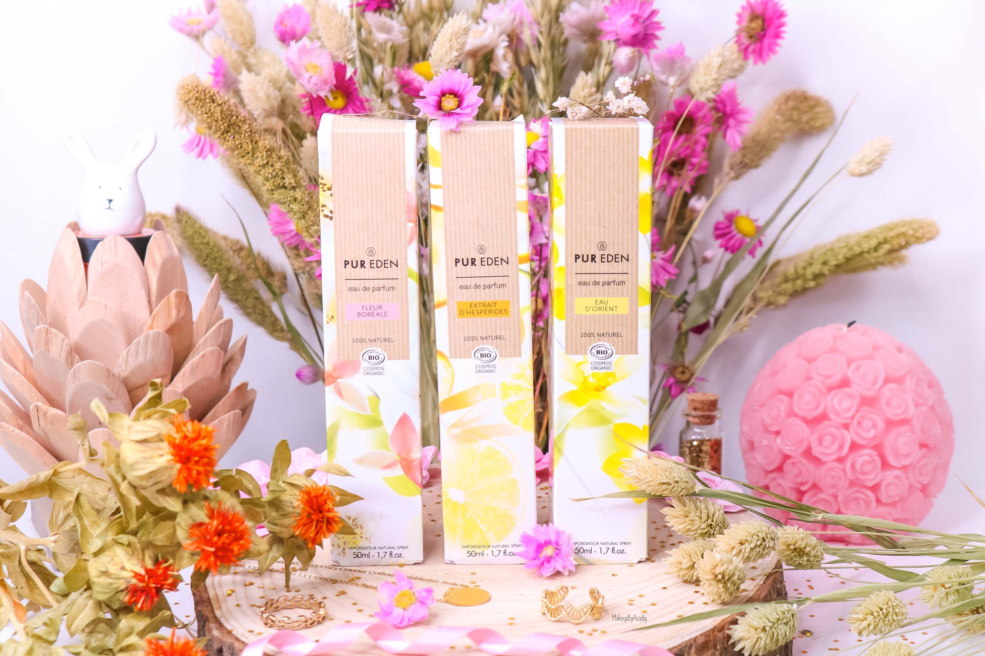 revue-eau-de-parfum-bio-vegan-pur-eden-fleur-boreale-extraits-hesperides-eau-dorient-makeupbyazadig-avis-prix-tenue