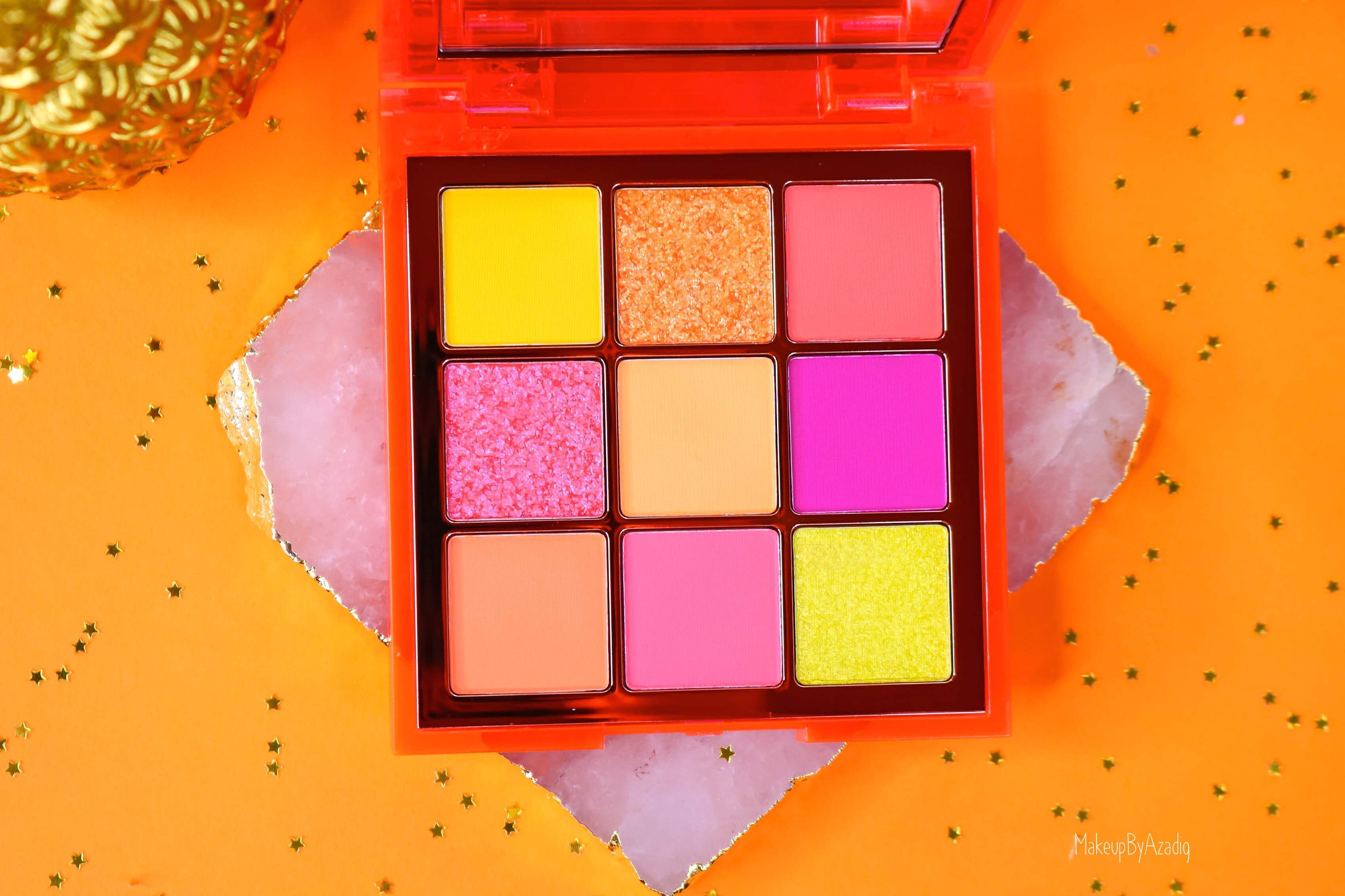 revue-review-palette-neon-obsession-huda-beauty-orange-pink-green-neon-palette-fard-paupieres-fluo-swatch-avis-prix-makeupbyazadig-couleurs
