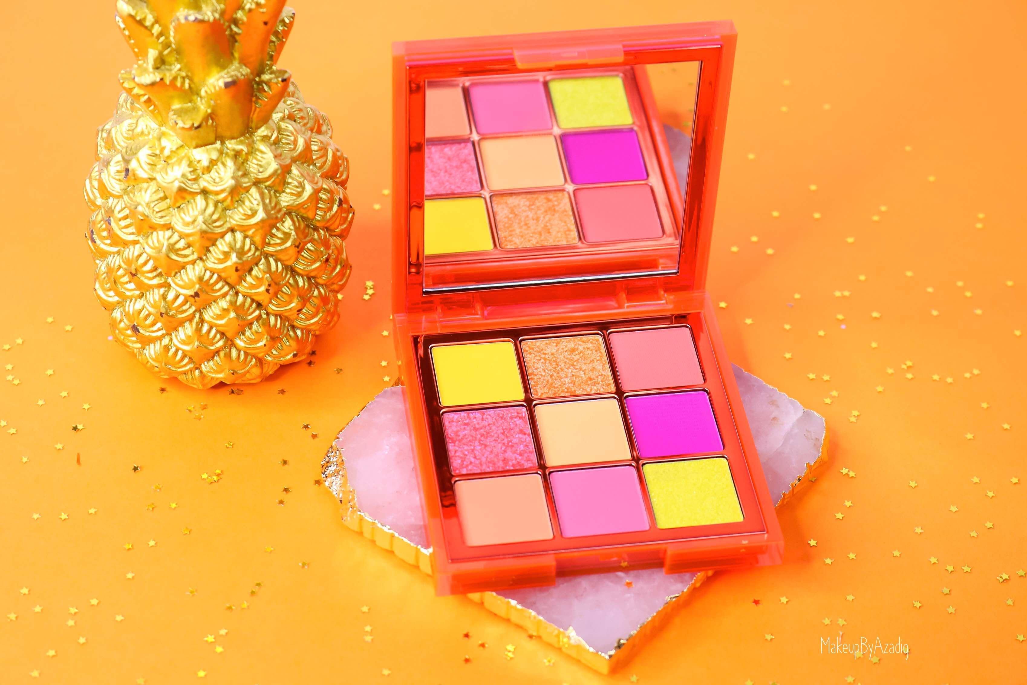 revue-review-palette-neon-obsession-huda-beauty-orange-pink-green-neon-palette-fard-paupieres-fluo-swatch-avis-prix-makeupbyazadig-hudaboss