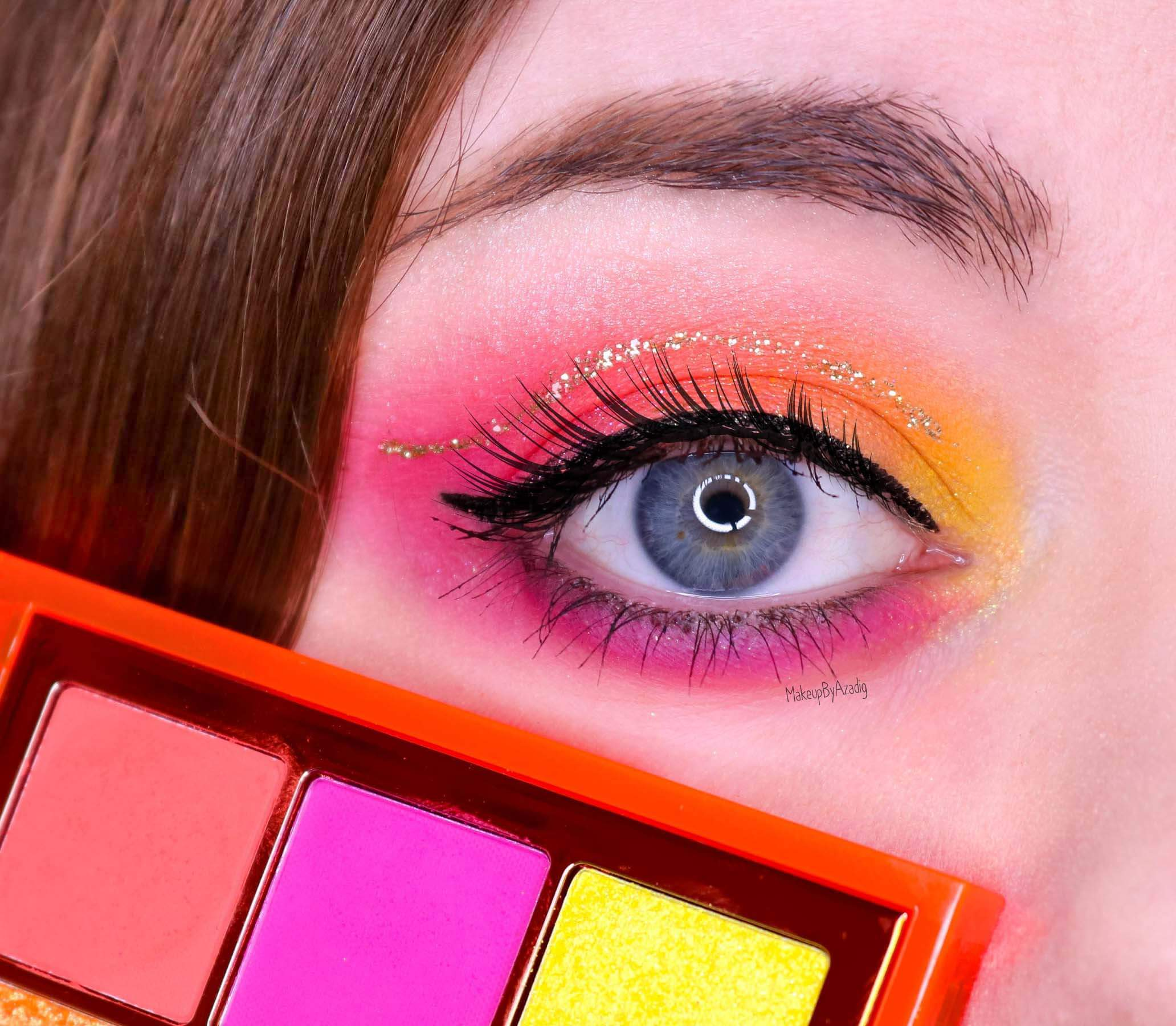 revue-review-palette-neon-obsession-huda-beauty-orange-pink-green-neon-palette-fard-paupieres-fluo-swatch-avis-prix-makeupbyazadig-makeup-summer
