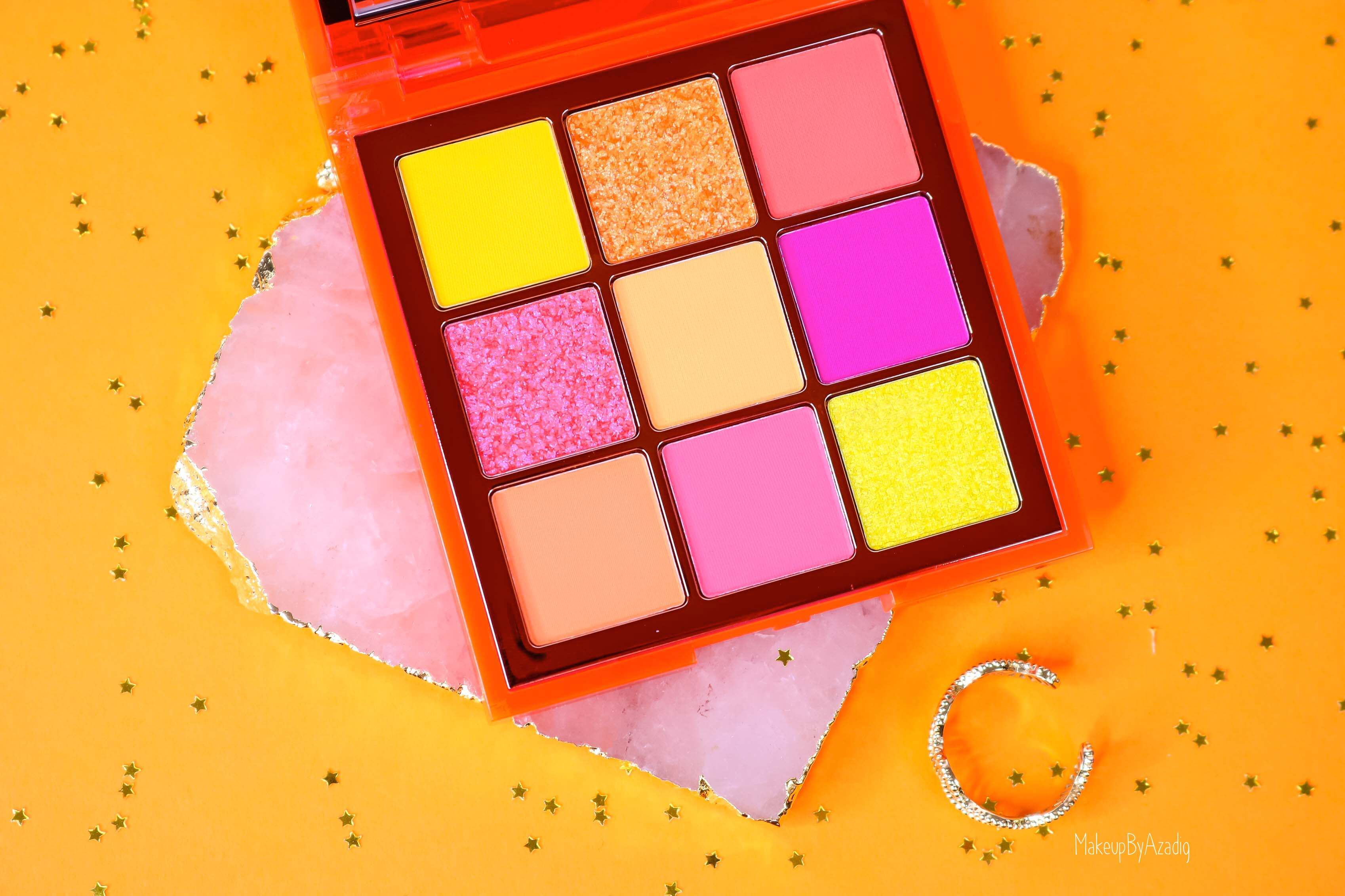 revue-review-palette-neon-obsession-huda-beauty-orange-pink-green-neon-palette-fard-paupieres-fluo-swatch-avis-prix-makeupbyazadig-rose