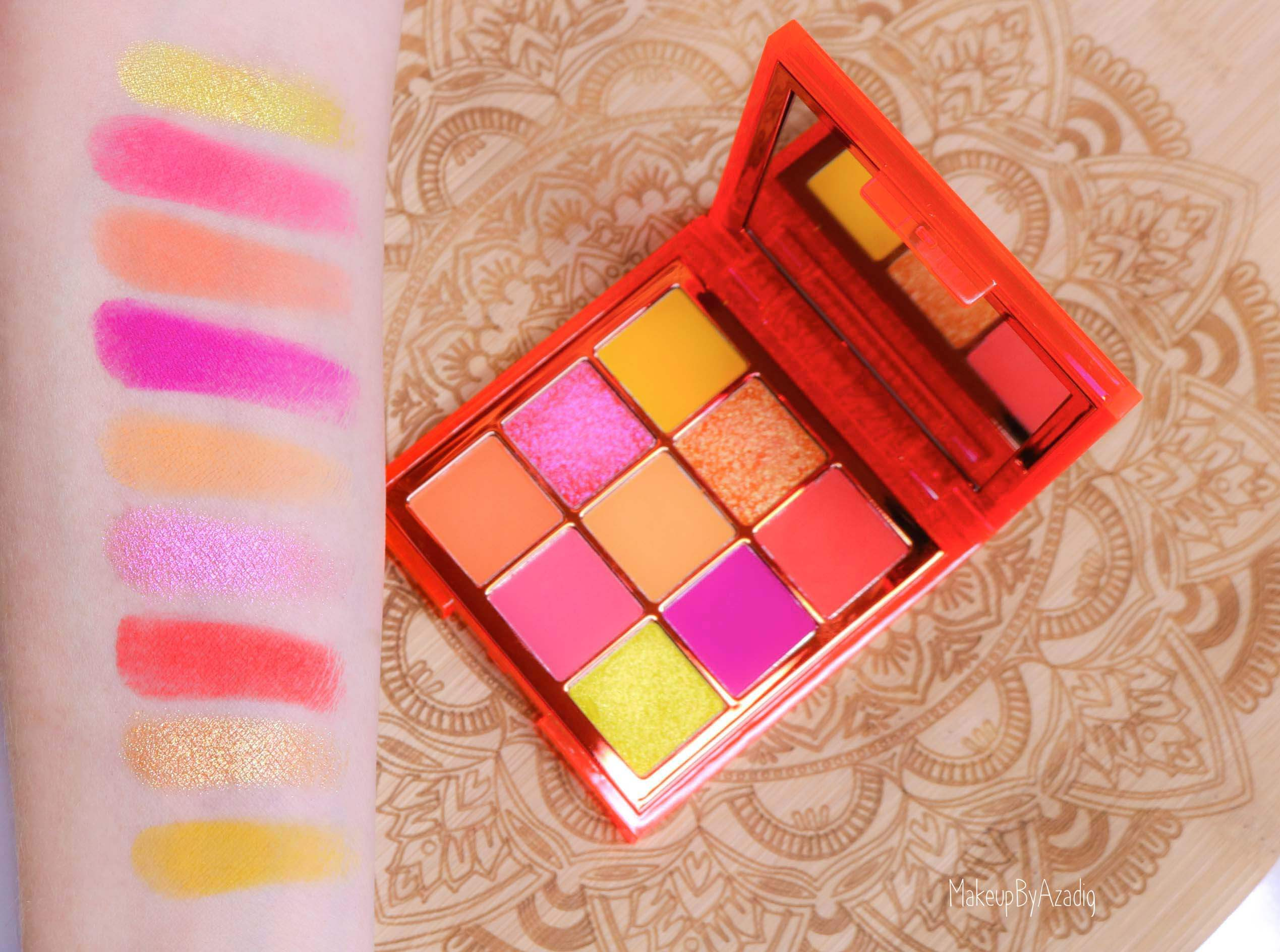 revue-review-palette-neon-obsession-huda-beauty-orange-pink-green-neon-palette-fard-paupieres-fluo-swatch-avis-prix-makeupbyazadig-swatches