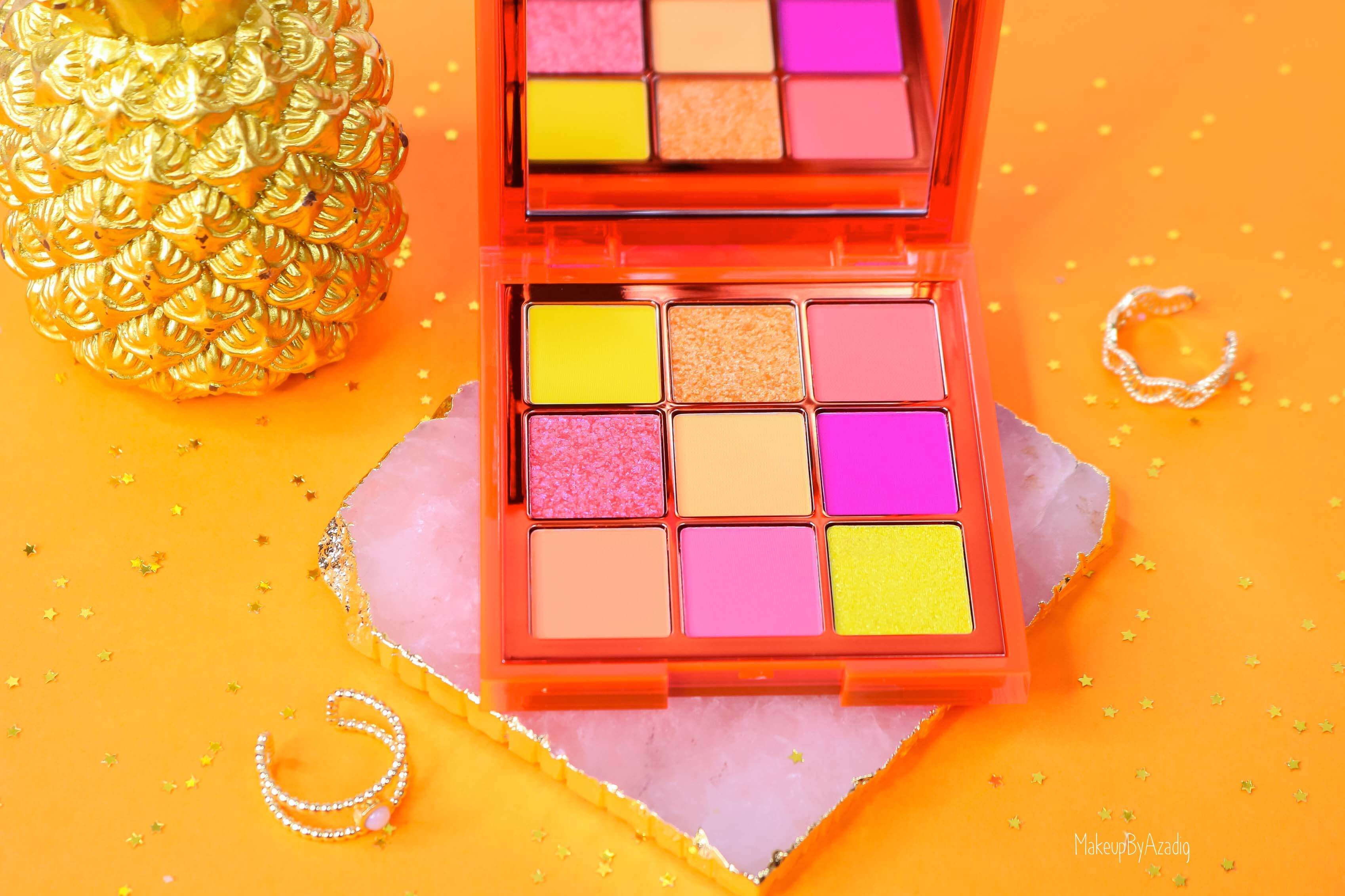 revue-review-palette-neon-obsession-huda-beauty-orange-pink-green-neon-palette-fard-paupieres-fluo-swatch-avis-prix-makeupbyazadig-teintes