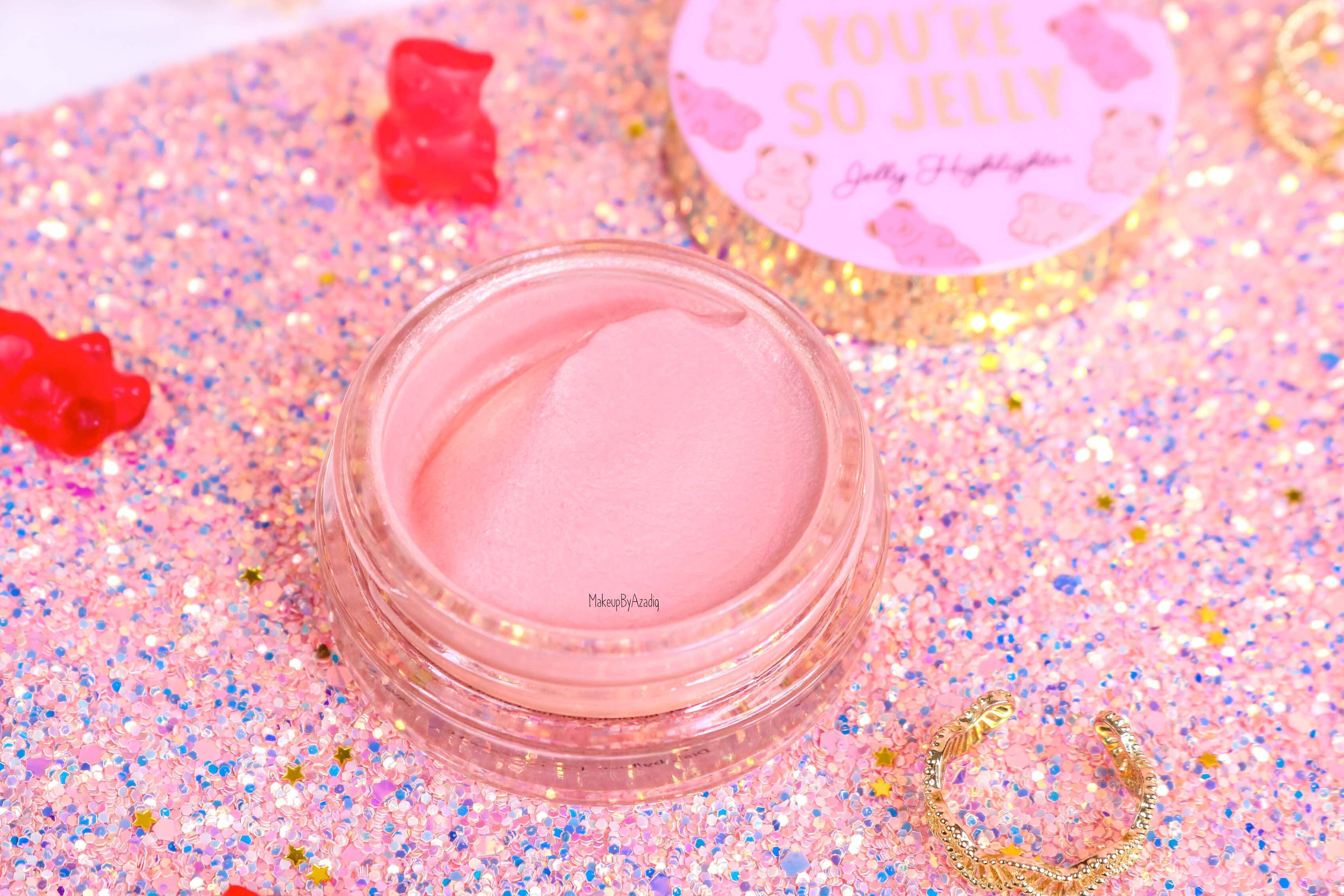 revue-highlighter-jelly-gel-rose-pink-too-faced-texture-cute-avis-prix-swatch-makeupbyazadig-sephora-france-glitter