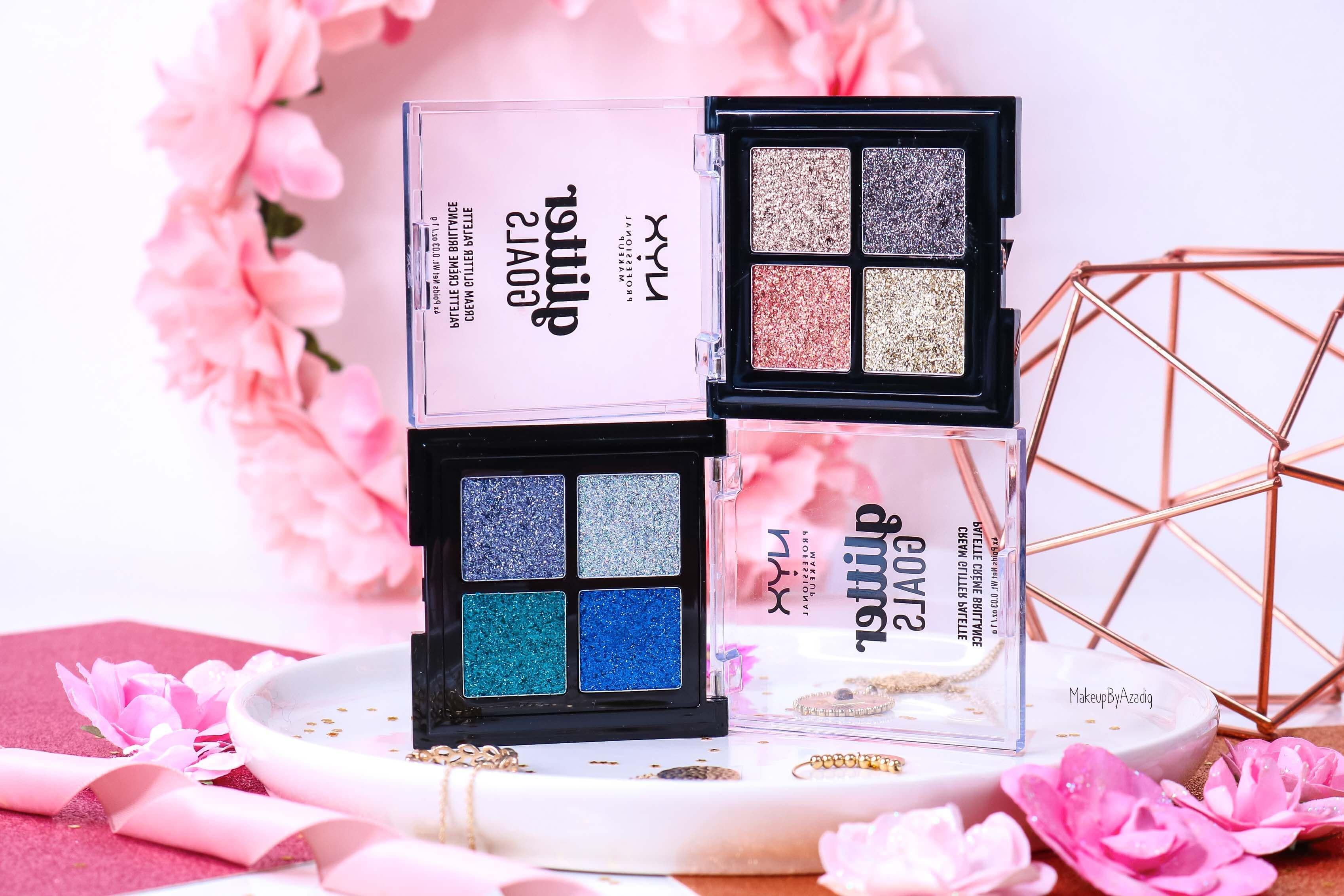 revue-palette-glitter-goals-nyx-professional-makeup-festival-coachella-avis-prix-paillette-makeupbyazadig-galactica-glacier-collection