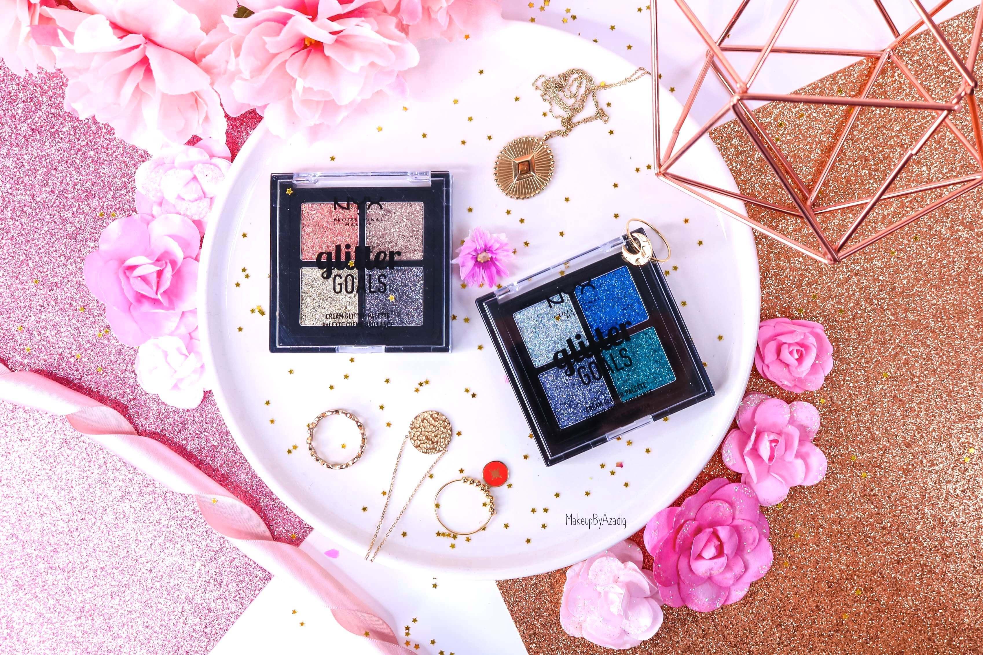 revue-palette-glitter-goals-nyx-professional-makeup-festival-coachella-avis-prix-paillette-makeupbyazadig-galactica-glacier-miniature