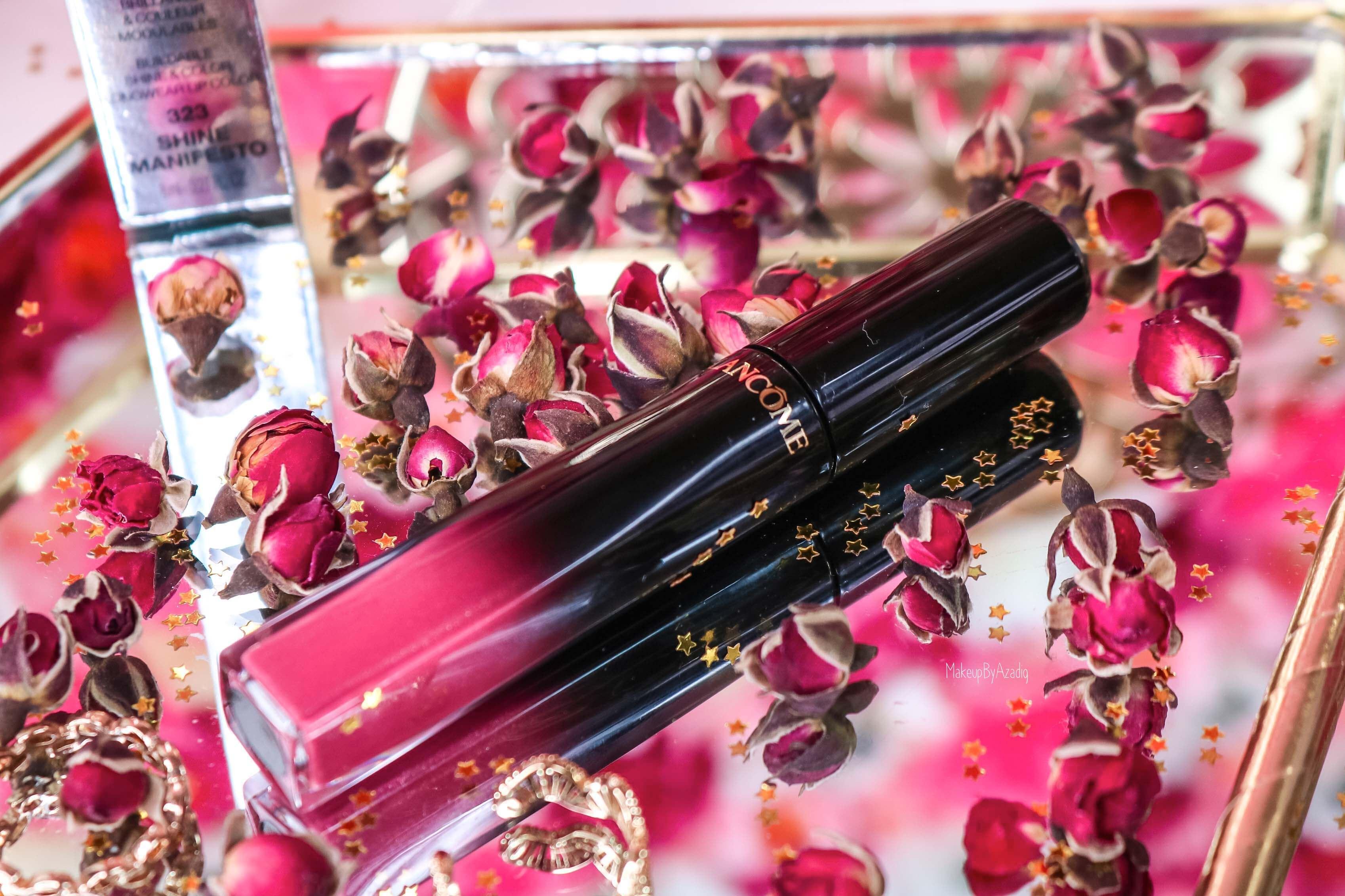 revue-lacque-a-levres-absolu-lacquer-lancome-shine-manifesto-323-sephora-avis-prix-tenue-makeupbyazadig-swatch-fleurs
