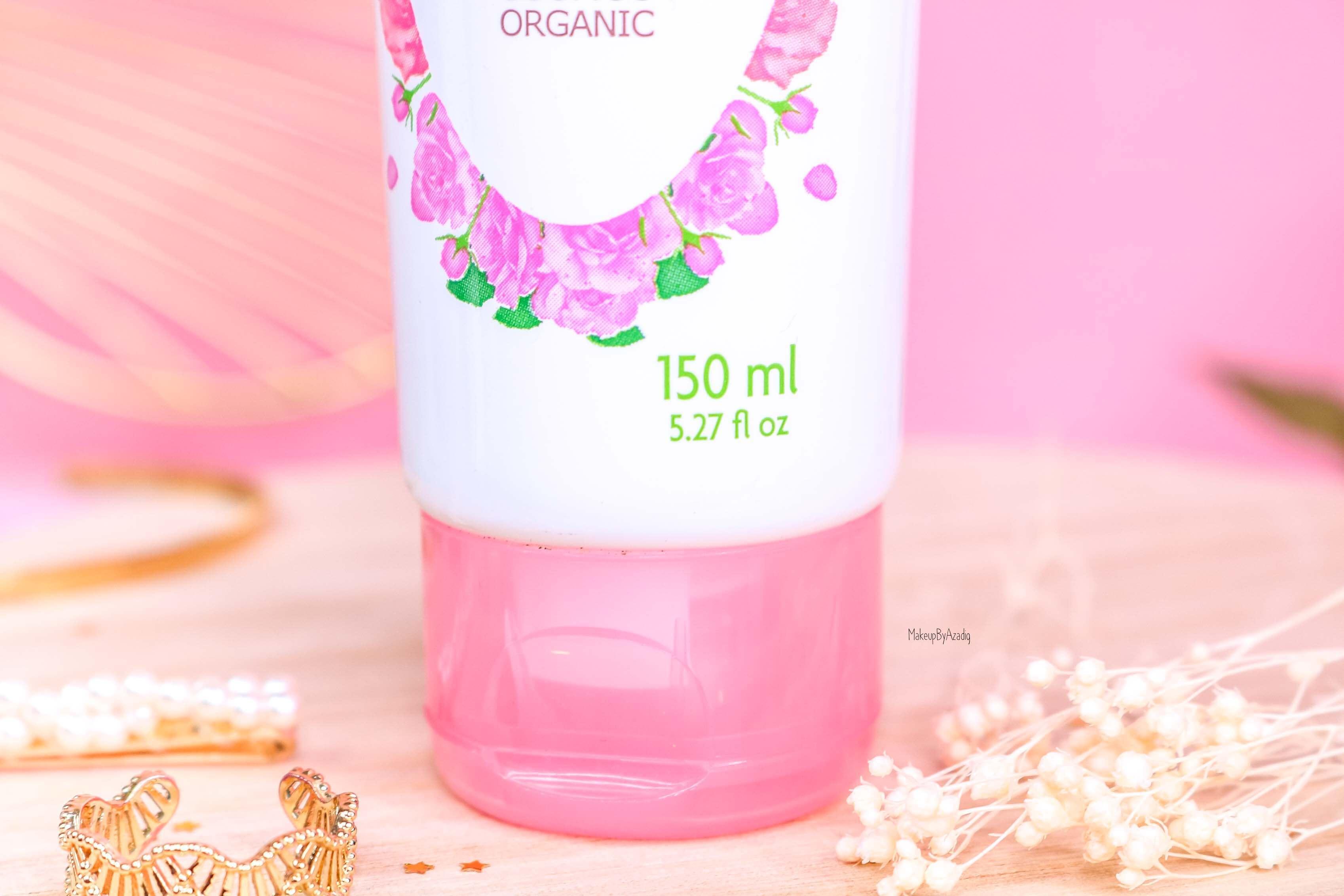revue-produit-corps-visage-rose-fleurance-nature-hydratant-bio-cosmos-organic-avis-prix-makeupbyazadig-eau-micellaire-quantite