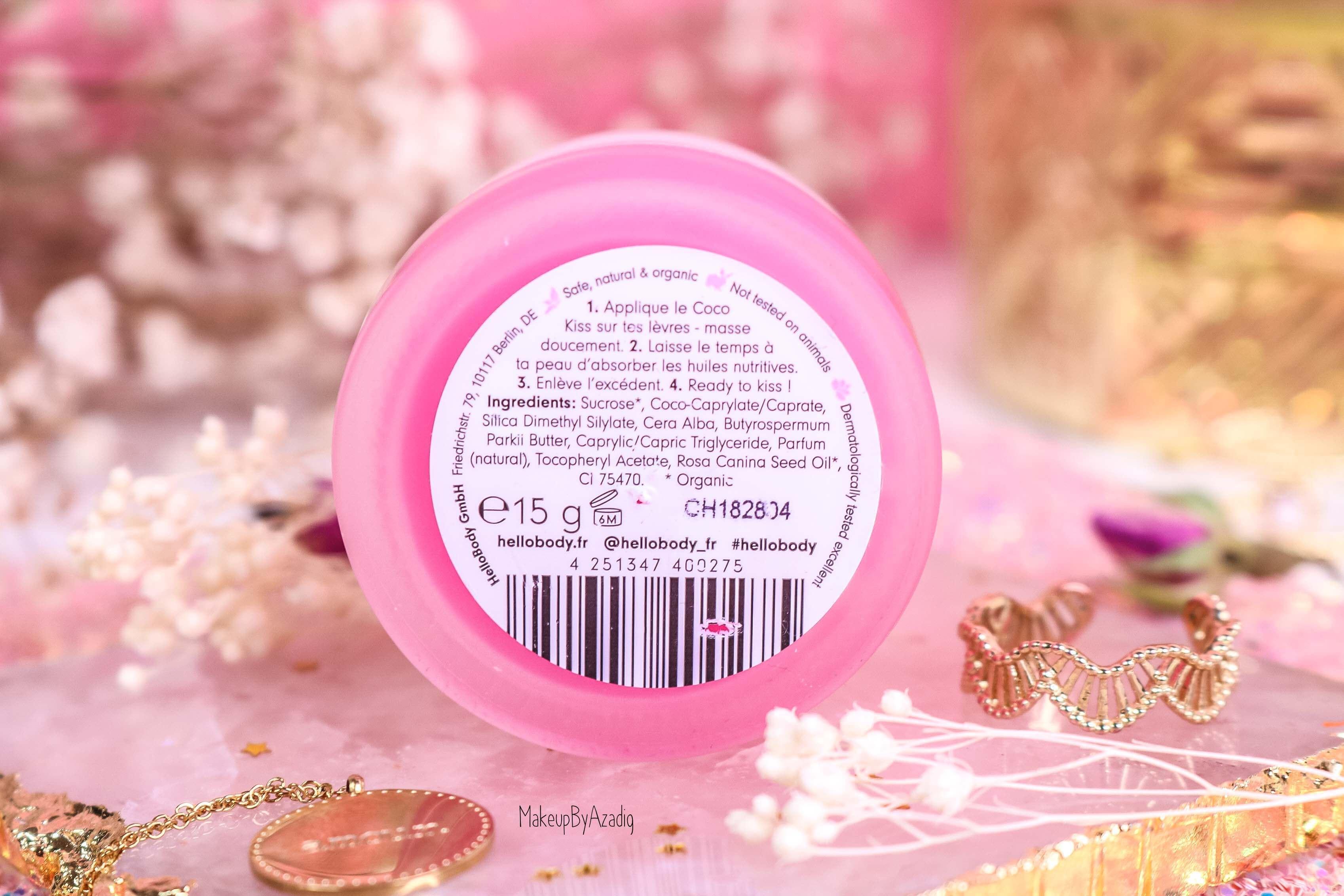 revue-baume-gommage-levres-coco-kiss-hellobody-avis-prix-swatch-makeupbyazadig-efficacite-lip-scrub-ingredients