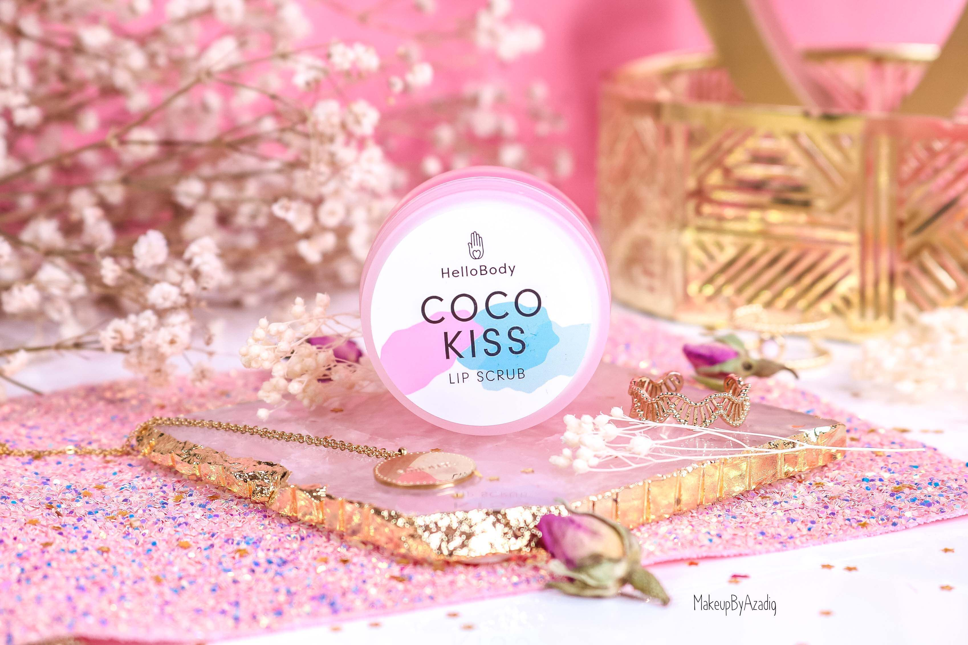 revue-baume-gommage-levres-coco-kiss-hellobody-avis-prix-swatch-makeupbyazadig-efficacite-lip-scrub-packaging