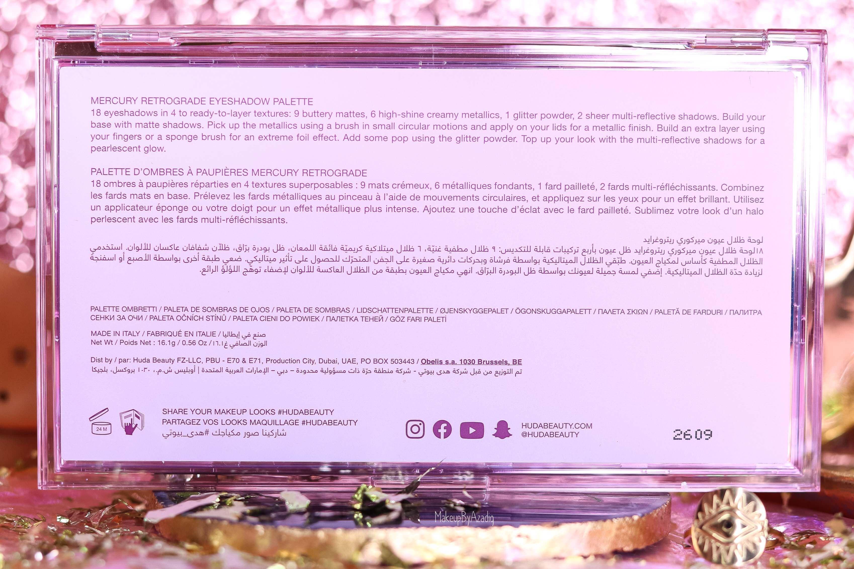 revue-palette-mercury-retrograde-huda-beauty-sephora-france-makeupbyazadig-avis-prix-swatch-astrologie-ingredients