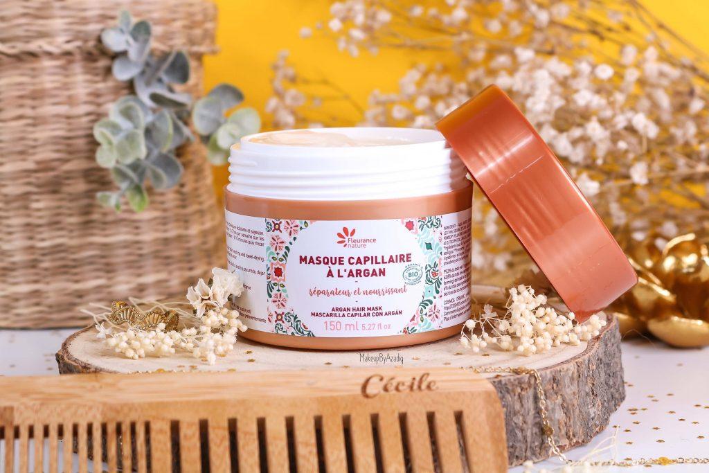 revue-masque-cheveux-capillaire-argan-reparateur-nourrissant-fleurance-nature-makeupbyazadig-bio-soin-avis-prix-resultat-miniature
