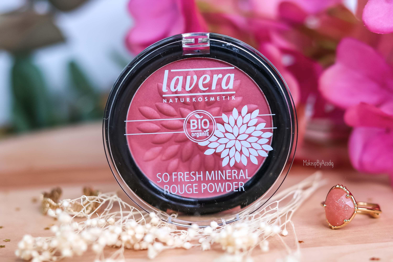 revue-maquillage-bio-naturel-certifie-vegan-lavera-makeupbyazadig-avis-prix-swatch-mascara-rouge-levres-palette-blush-fleur