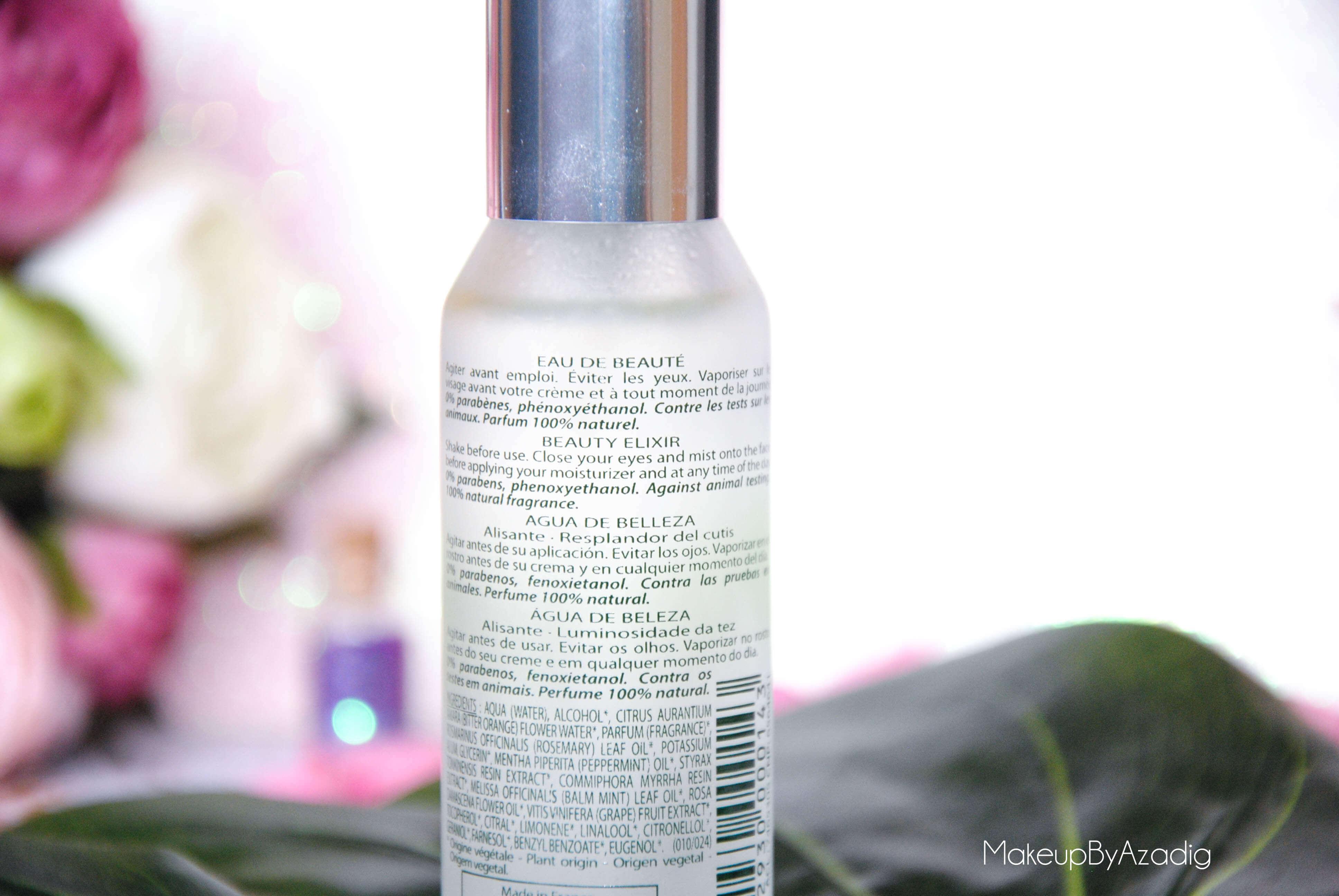 eau de beaute - caudalie - sanoflore - eau florale - produits de parapharmacie - makeupbyazadig - blog troyes - application