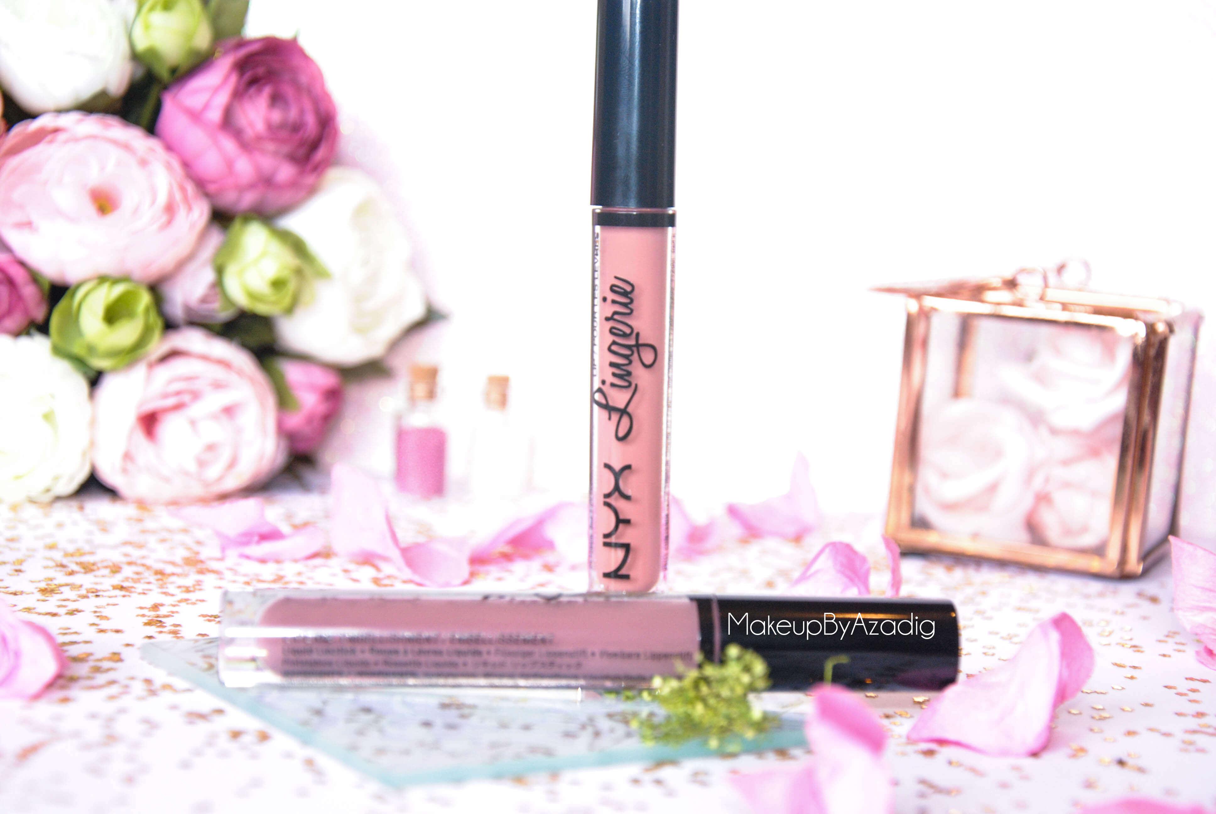 lip lingerie - revue - swatch- nyx cosmetics - embellishment - bedtime flirt - makeupbyazadig - enjoyphoenix - troyes - ensemble