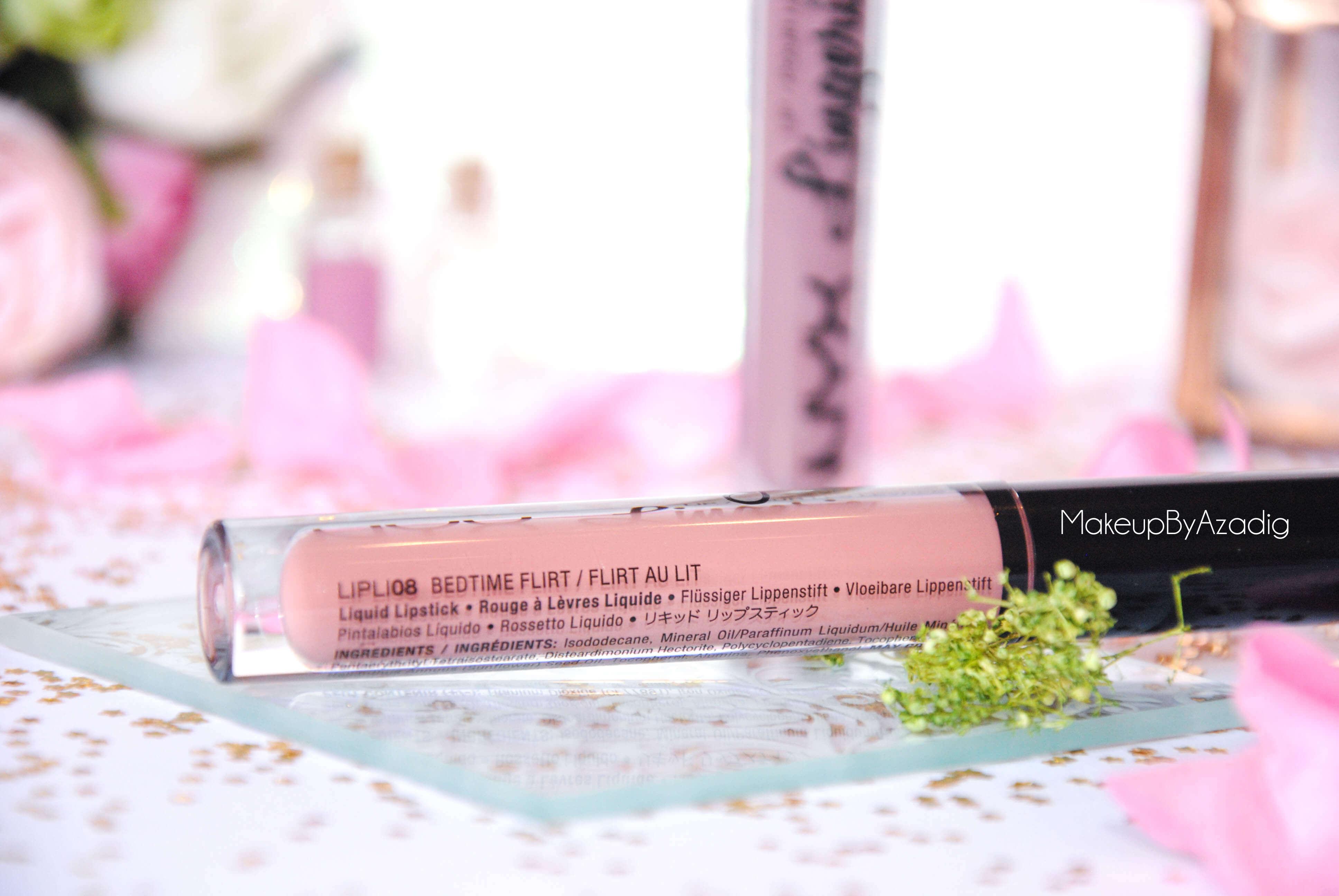 lip lingerie - revue - swatch- nyx cosmetics - embellishment - bedtime flirt - makeupbyazadig - enjoyphoenix - troyes -flirt au lit