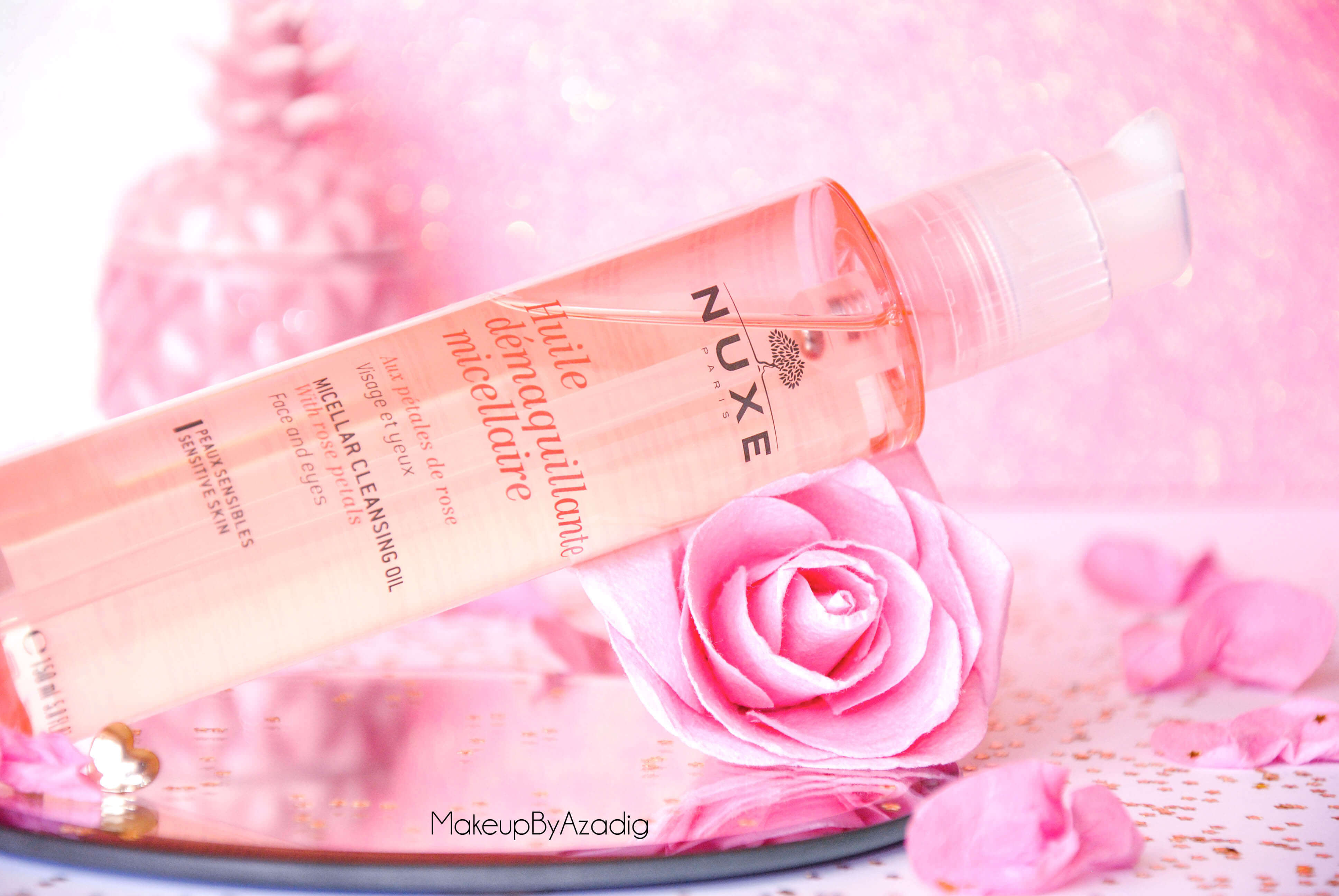 makeupbyazadig-huile-demaquillante-micellaire-nuxe-petales-de-rose-doctipharma-revue-avis-prix-pink