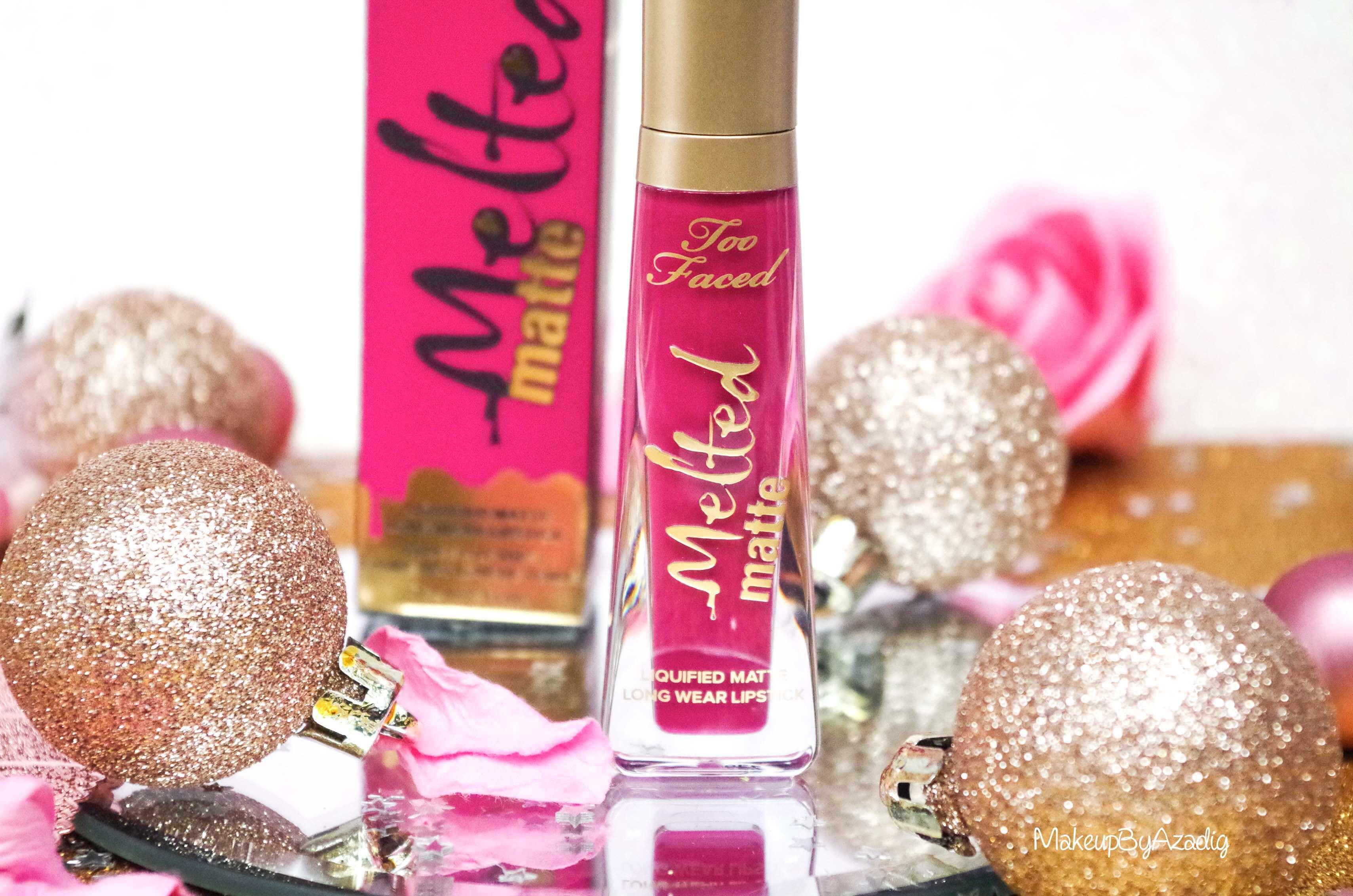 makeupbyazadig-melted-matte-queenb-bendandsnap-influencer-too-faced-rouge-levres-revue-avis-prix-sephora-paris-blog-liquide-logo