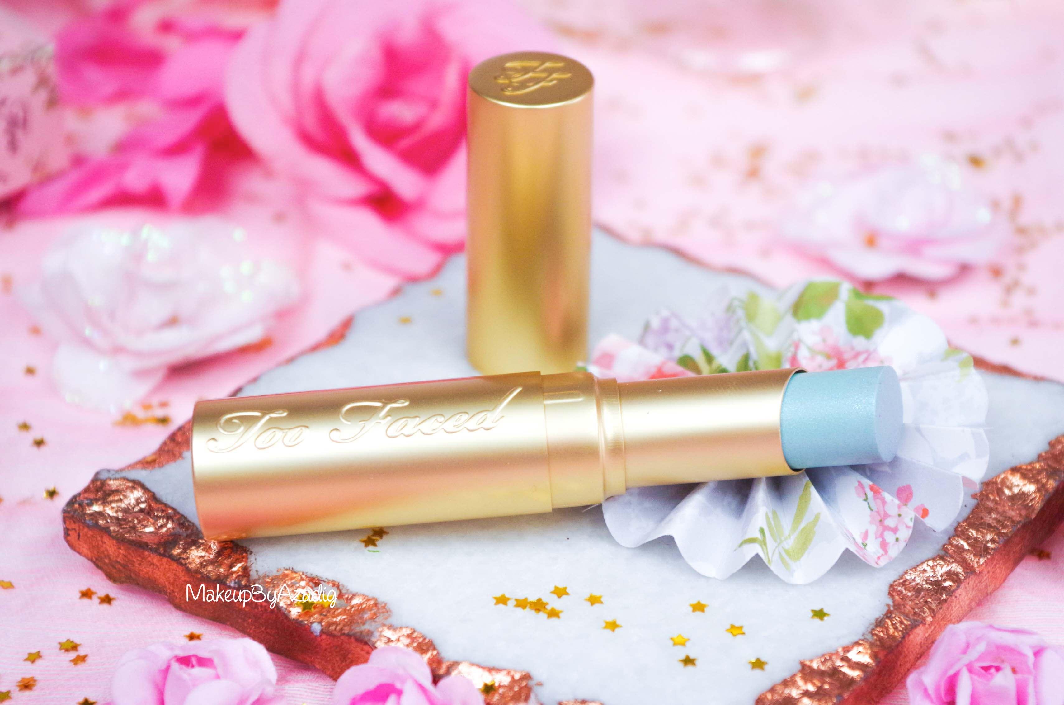 rouge-levres-creme-too-faced-unicorn-tears-magique-makeupbyazadig-swatch-avis-prix-revue-sephora-gold
