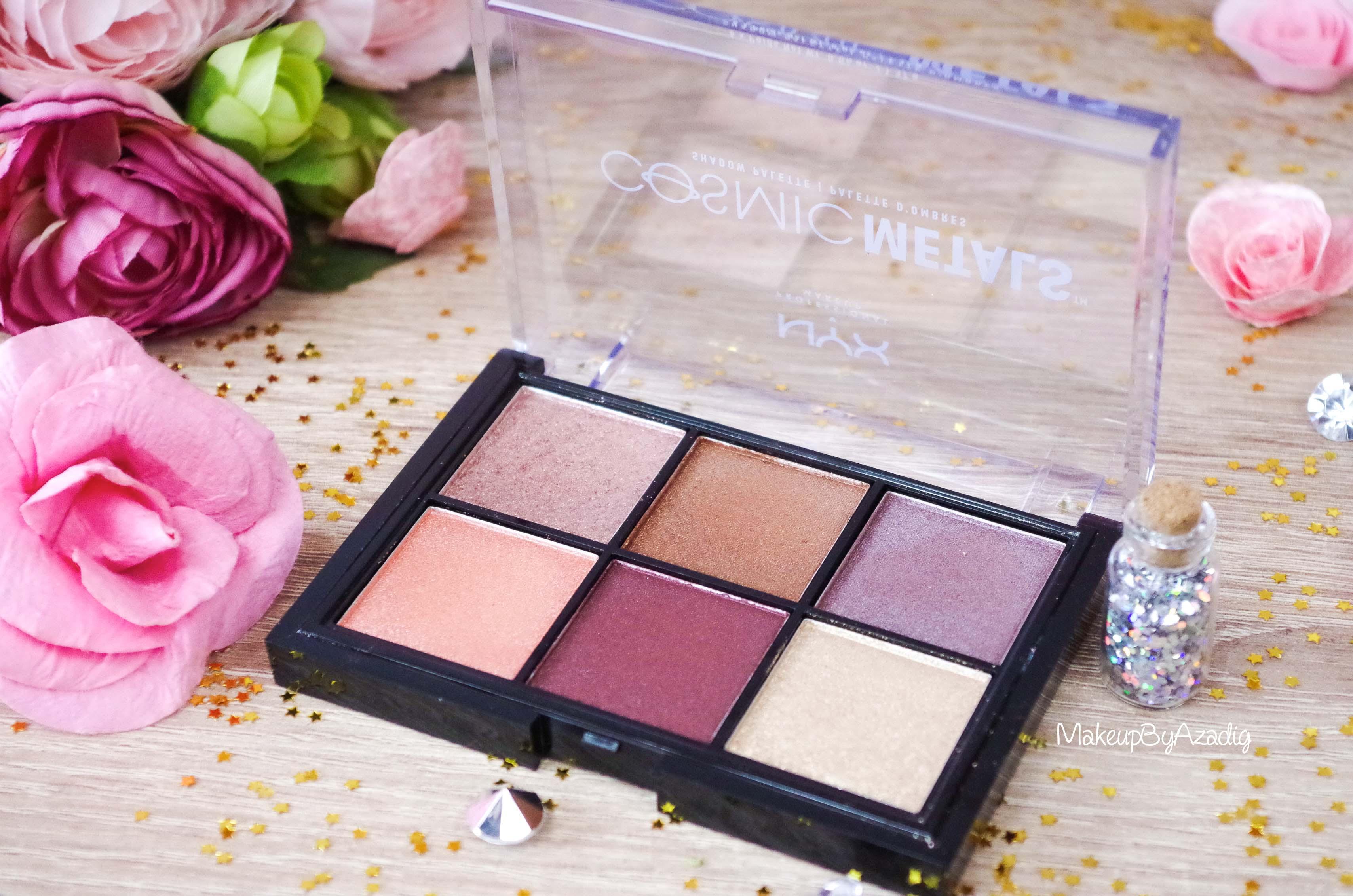 revue-palette-fards-paupieres-cosmic-metals-nyx-cosmetics-pas-cher-meilleure-makeupbyazadig-influencer-gold
