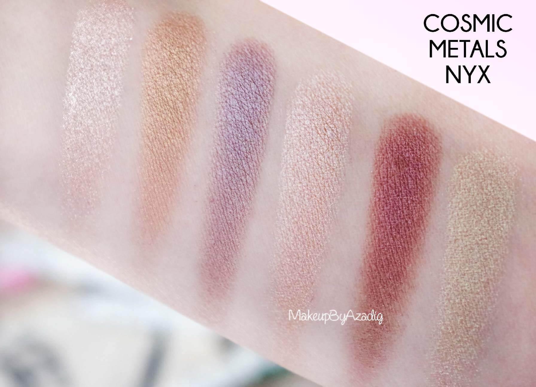 revue-palette-fards-paupieres-cosmic-metals-nyx-cosmetics-pas-cher-meilleure-makeupbyazadig-influencer-swatch