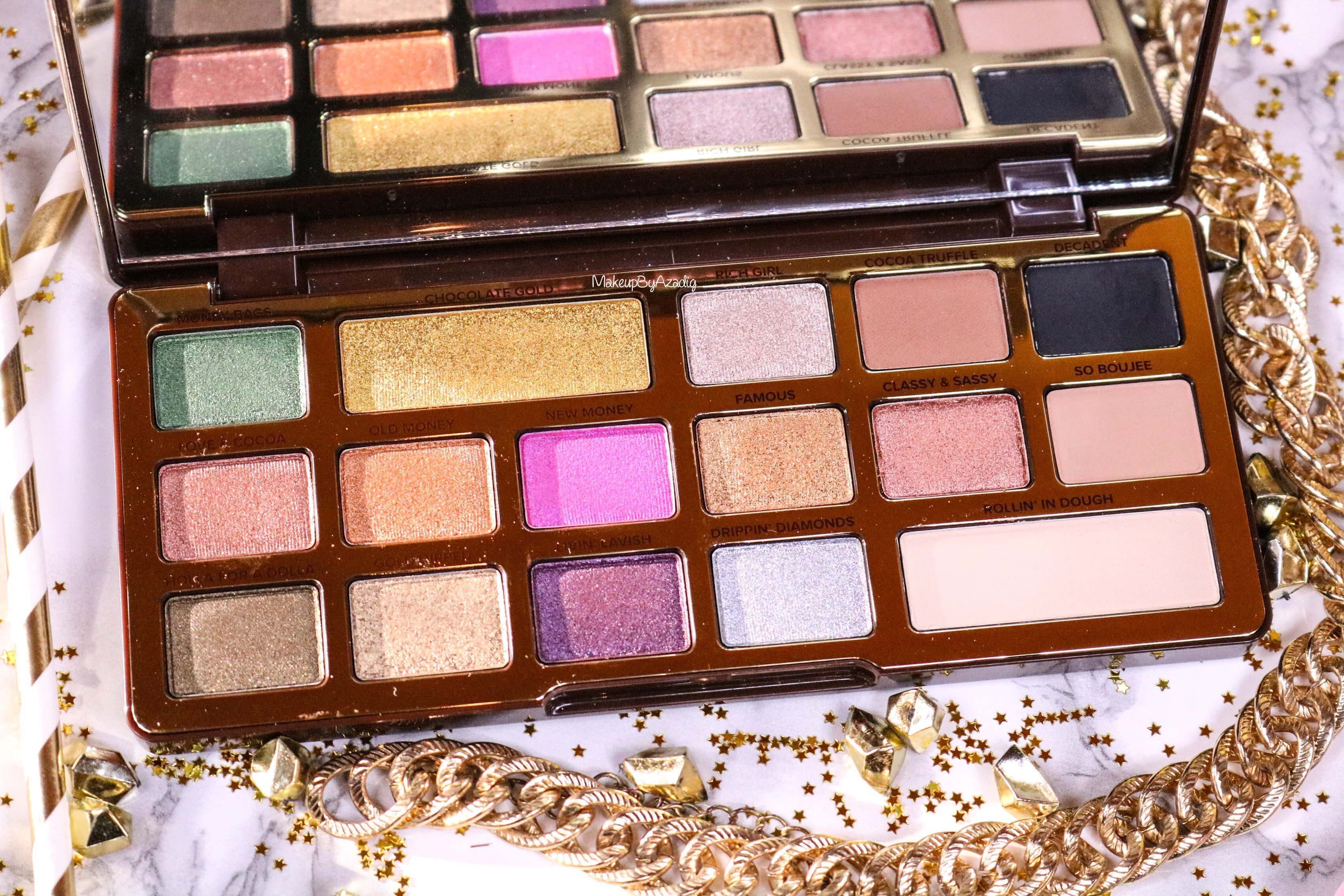 revue-palette-too-faced-chocolate-gold-review-swatch-swatches-avis-prix-makeupbyazadig-influencer-sephora