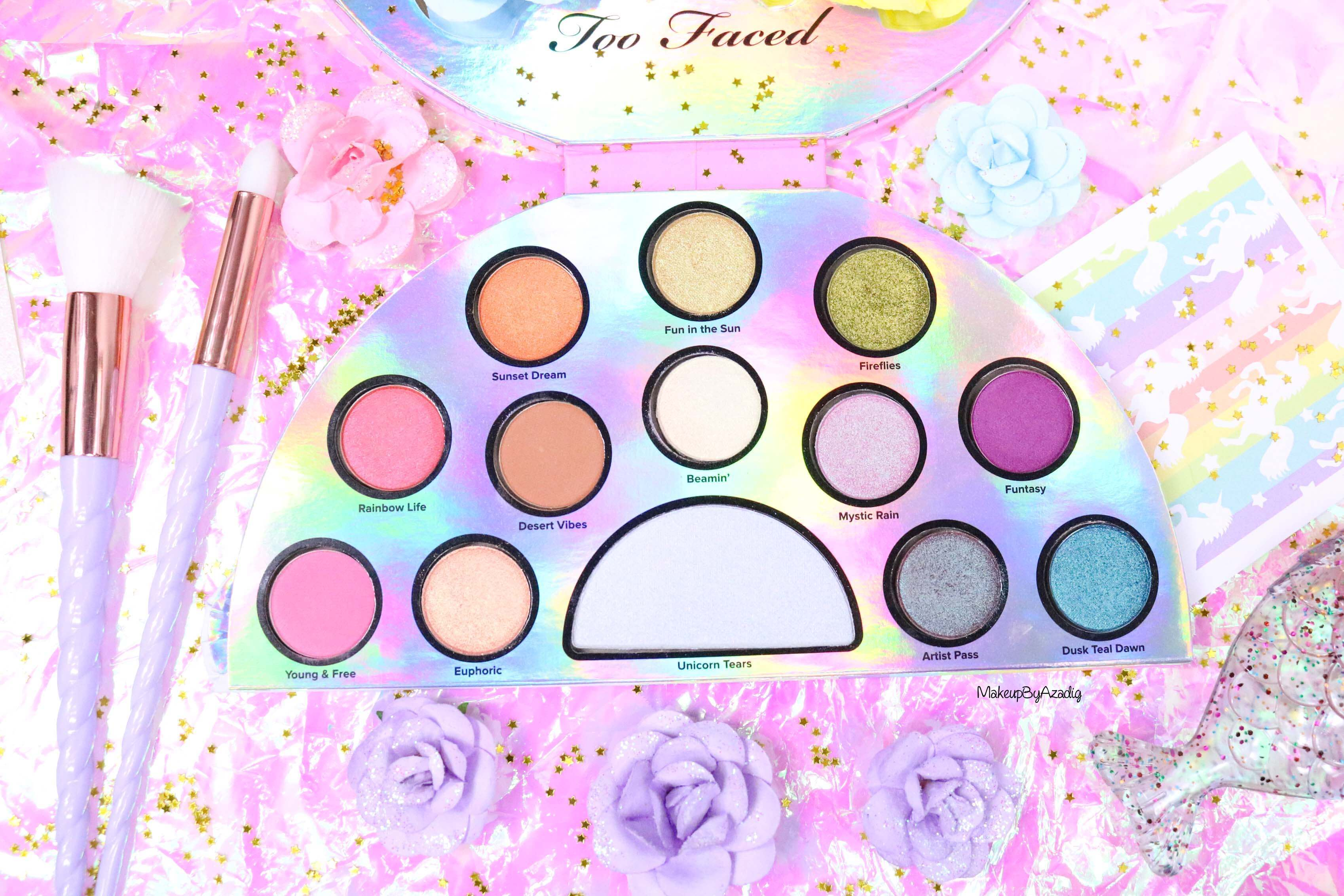 revue-palette-lifes-a-festival-too-faced-france-sephora-avis-prix-revue-makeupbyazadig-collection-licorne-blue