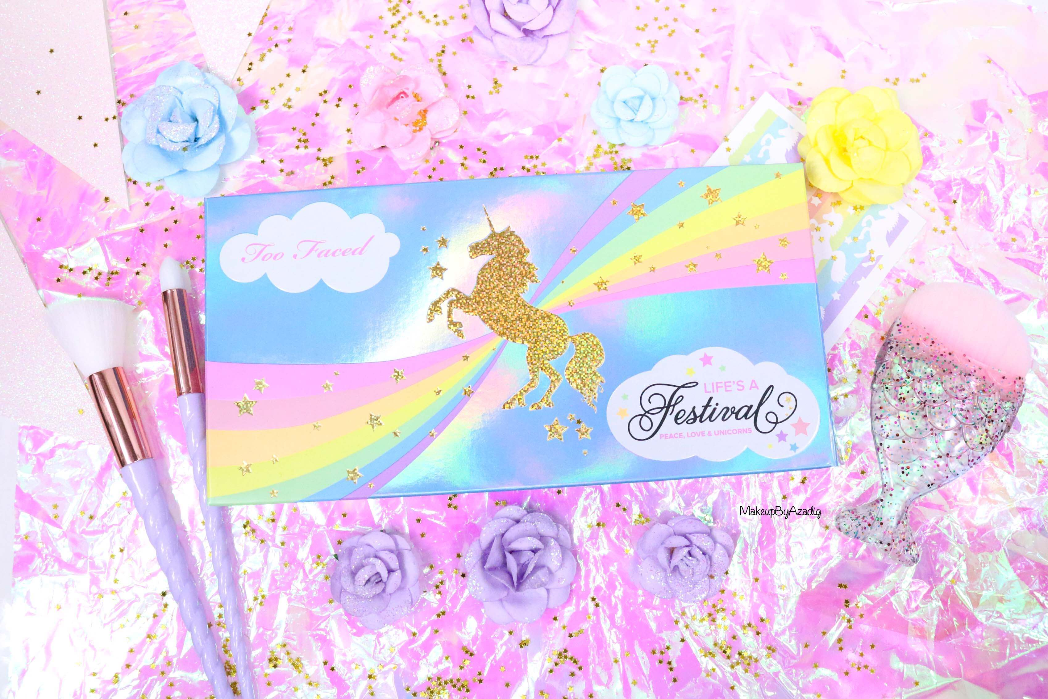 revue-palette-lifes-a-festival-too-faced-france-sephora-avis-prix-revue-makeupbyazadig-collection-licorne-packaging