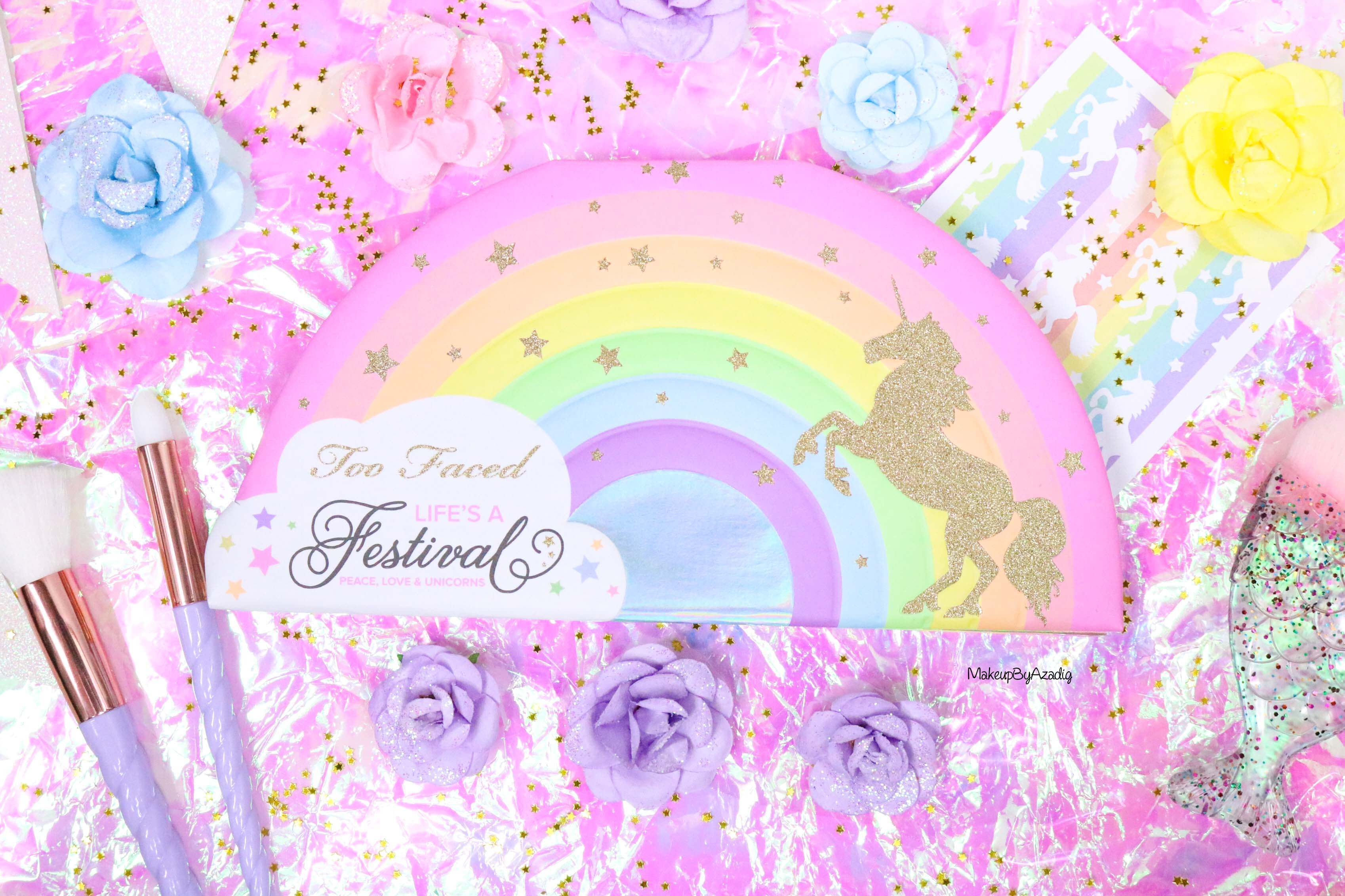 revue-palette-lifes-a-festival-too-faced-france-sephora-avis-prix-revue-makeupbyazadig-collection-licorne-paillette