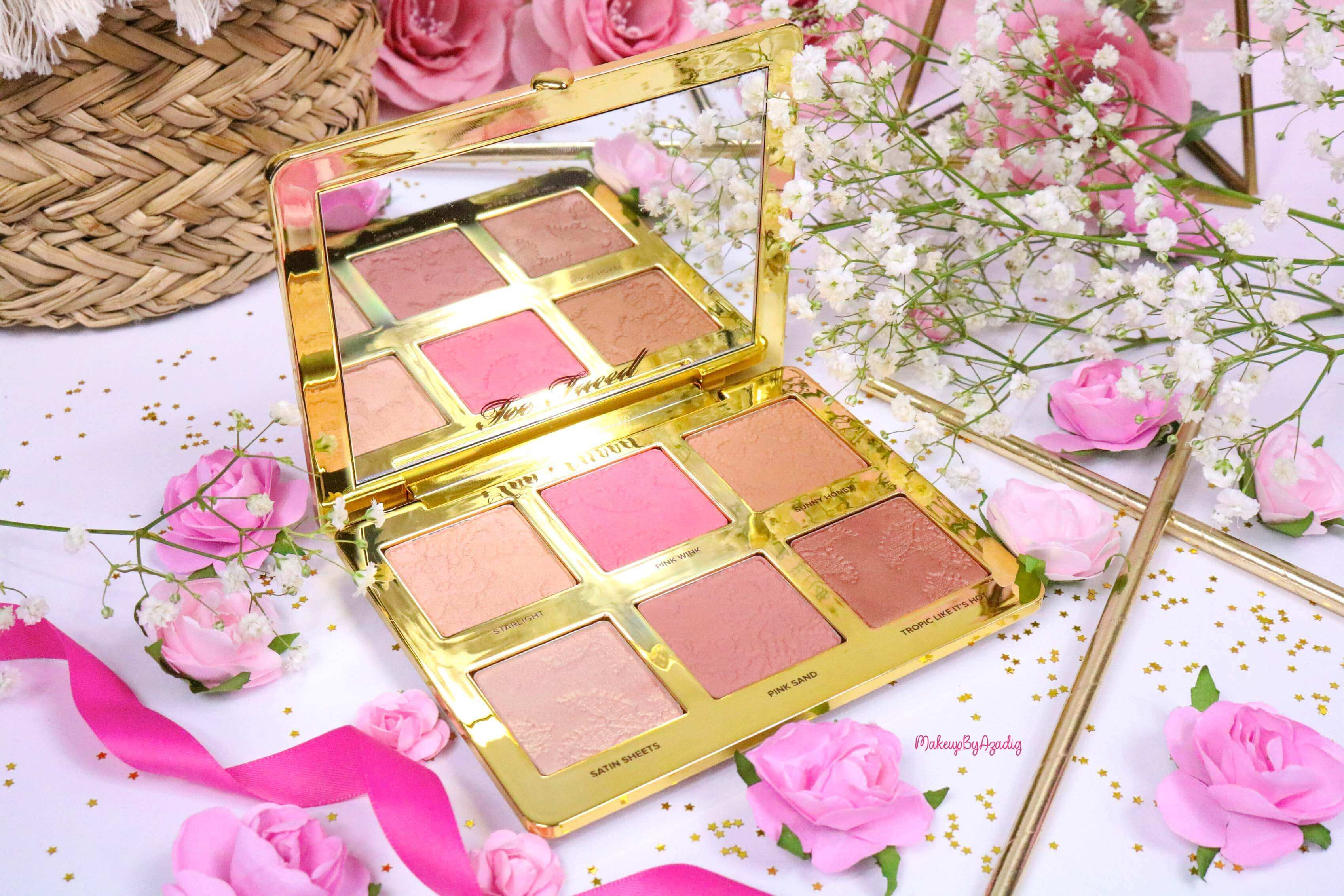 revue-review-palette-teint-natural-face-too-faced-makeupbyazadig-sephora-france-avis-prix-swatch-blush-highlighter-pink